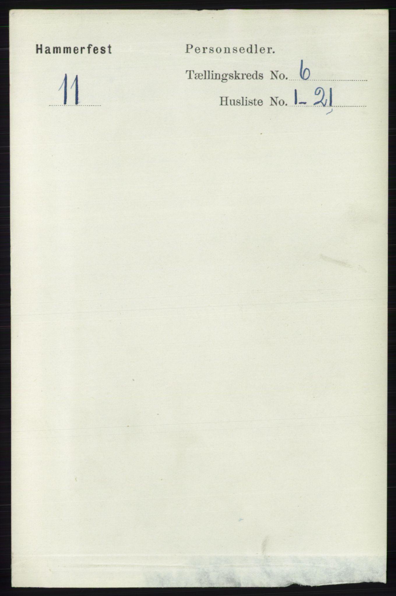 RA, Folketelling 1891 for 2001 Hammerfest kjøpstad, 1891, s. 1707