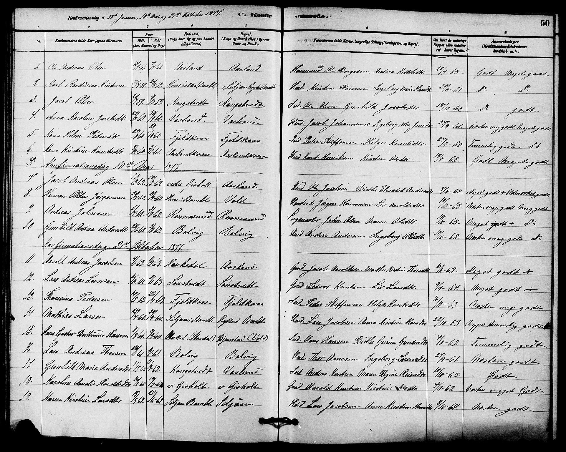 SAKO, Solum kirkebøker, F/Fc/L0001: Ministerialbok nr. III 1, 1877-1891, s. 50