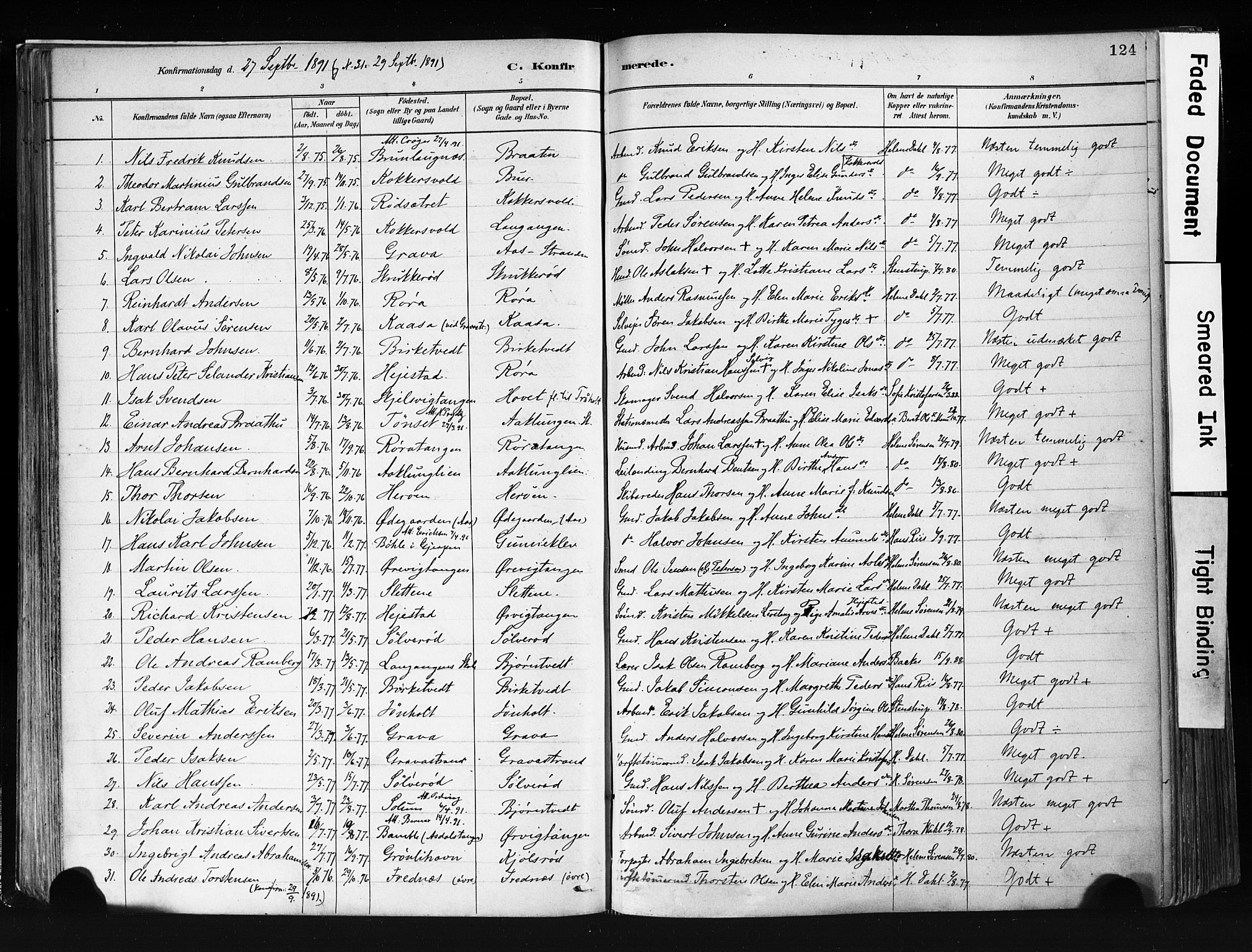 SAKO, Eidanger kirkebøker, F/Fa/L0012: Ministerialbok nr. 12, 1879-1900, s. 124