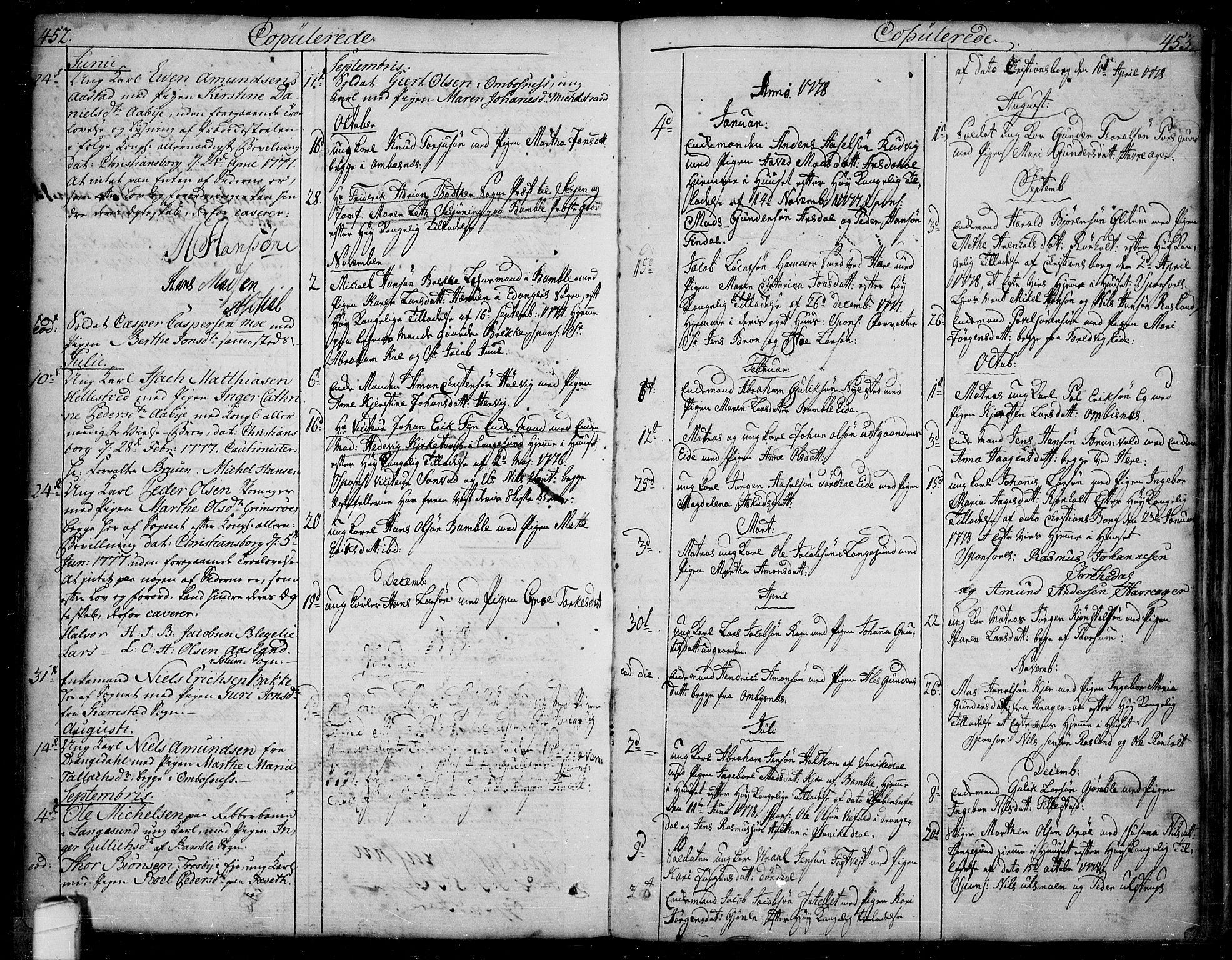 SAKO, Bamble kirkebøker, F/Fa/L0002: Ministerialbok nr. I 2, 1775-1814, s. 452-453