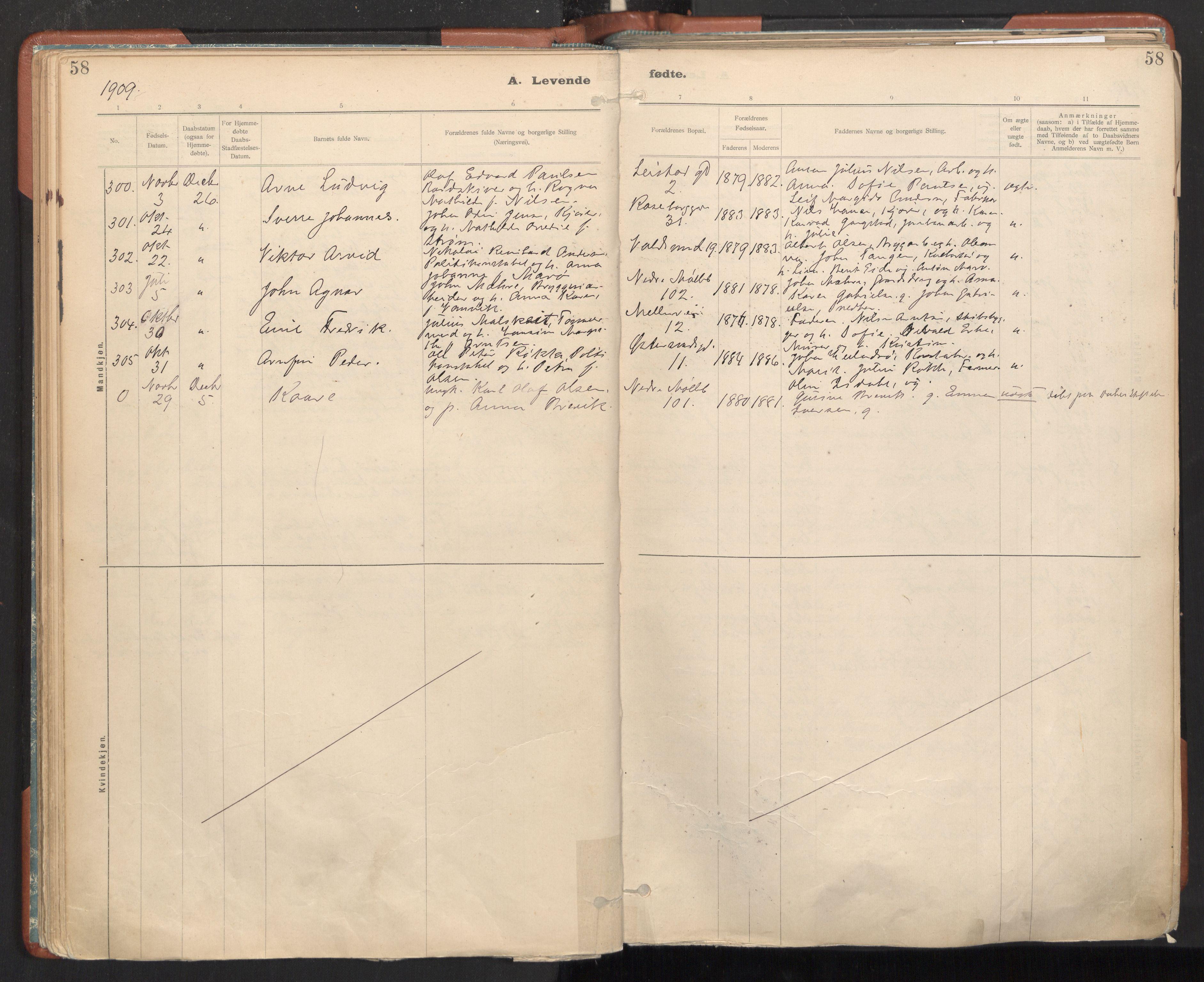 SAT, Ministerialprotokoller, klokkerbøker og fødselsregistre - Sør-Trøndelag, 605/L0243: Ministerialbok nr. 605A05, 1908-1923, s. 58