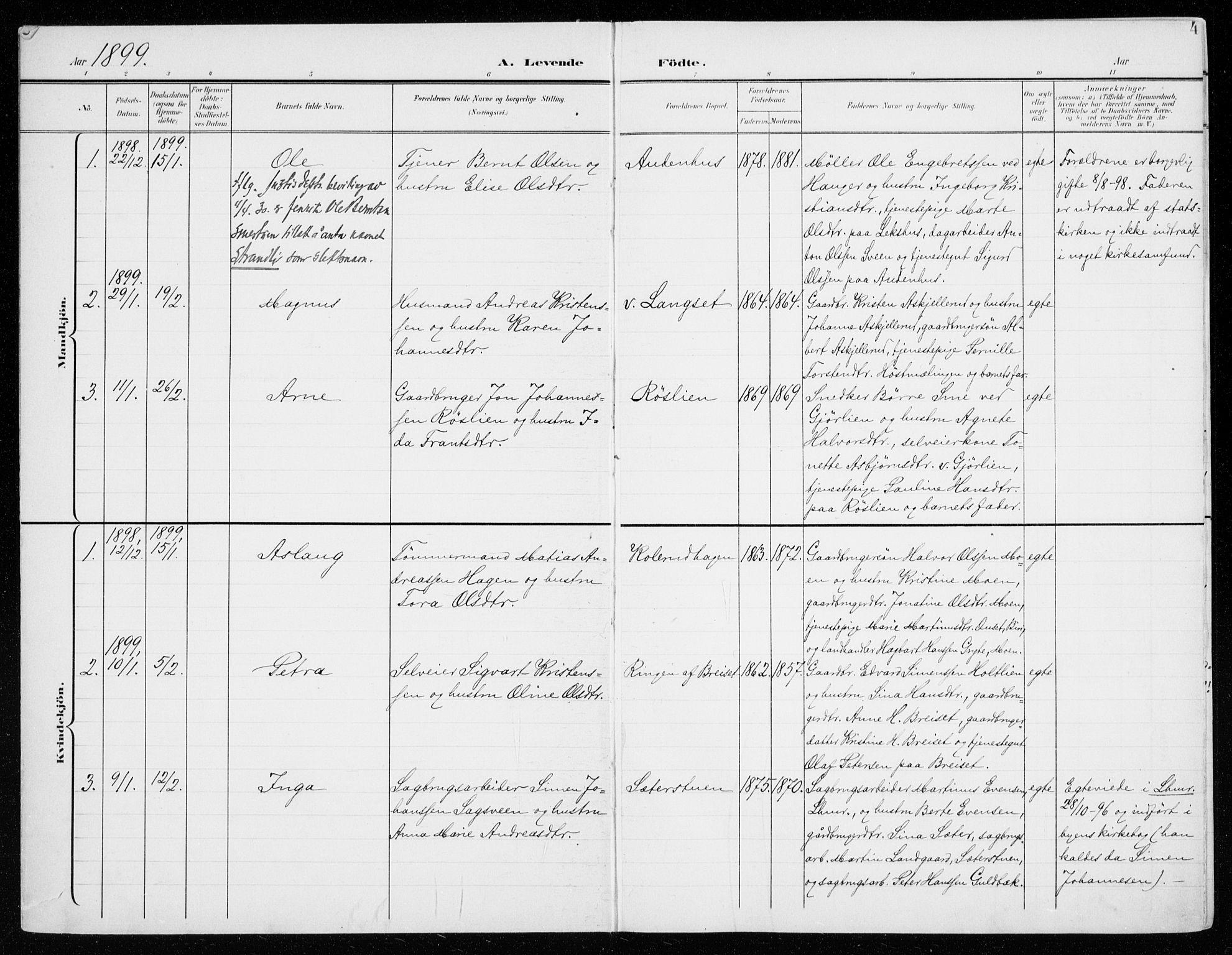 SAH, Fåberg prestekontor, H/Ha/Haa/L0011: Ministerialbok nr. 11, 1899-1913, s. 4