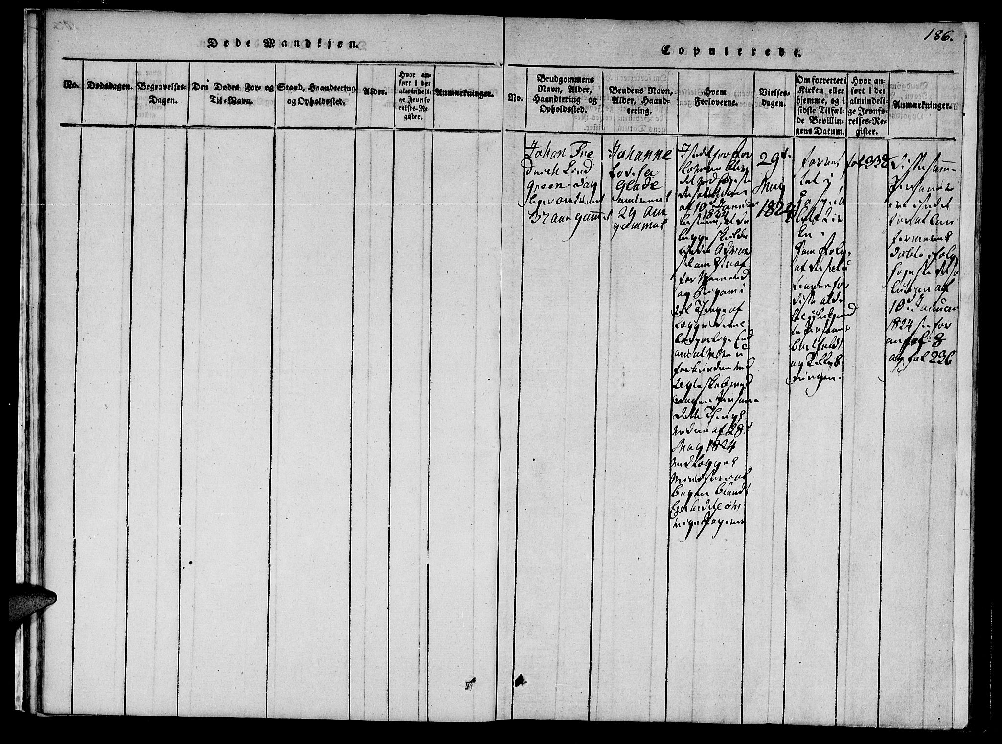 SAT, Ministerialprotokoller, klokkerbøker og fødselsregistre - Sør-Trøndelag, 623/L0467: Ministerialbok nr. 623A01, 1815-1825, s. 186