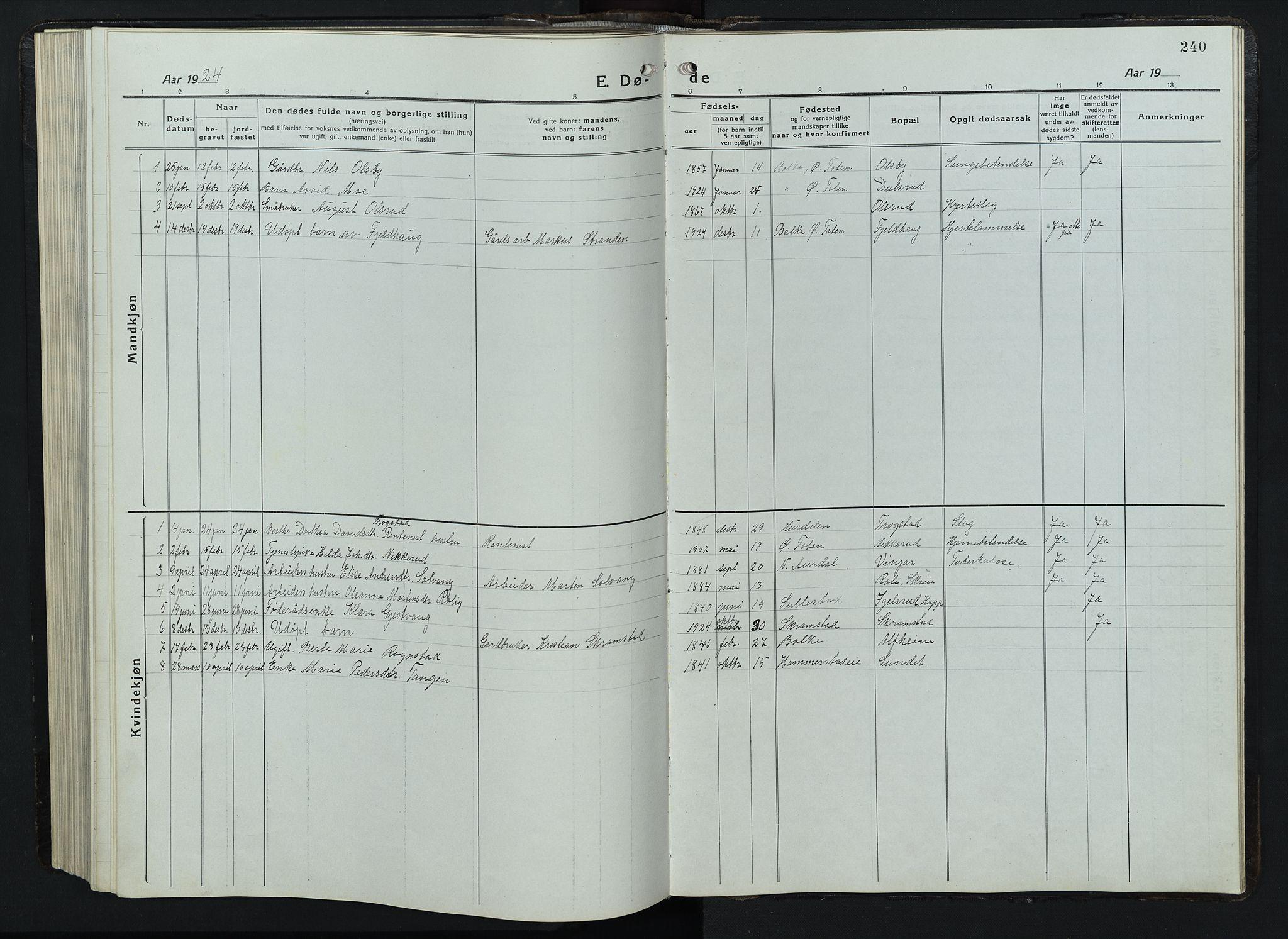 SAH, Balke prestekontor, Klokkerbok nr. 1, 1920-1955, s. 240