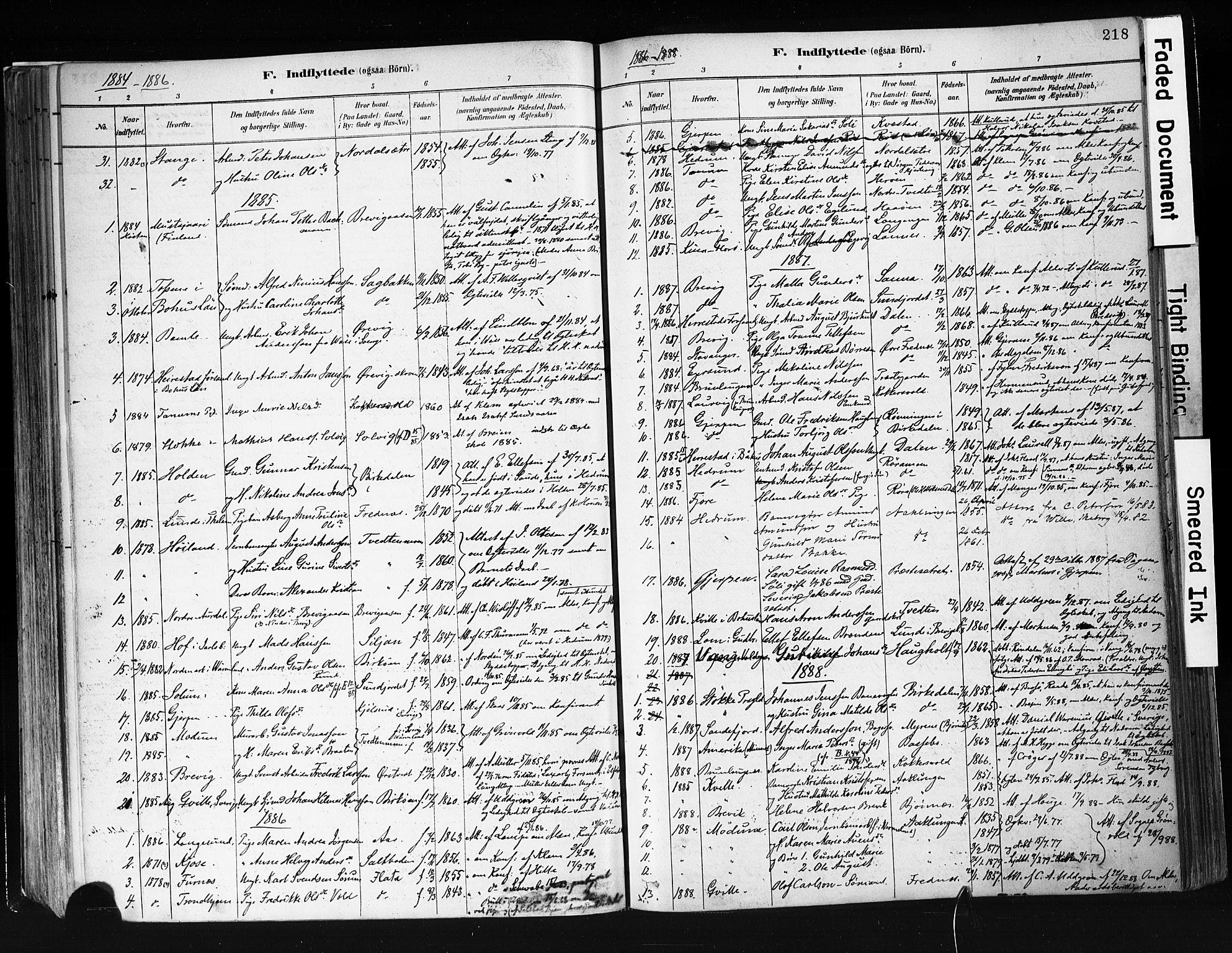 SAKO, Eidanger kirkebøker, F/Fa/L0012: Ministerialbok nr. 12, 1879-1900, s. 218