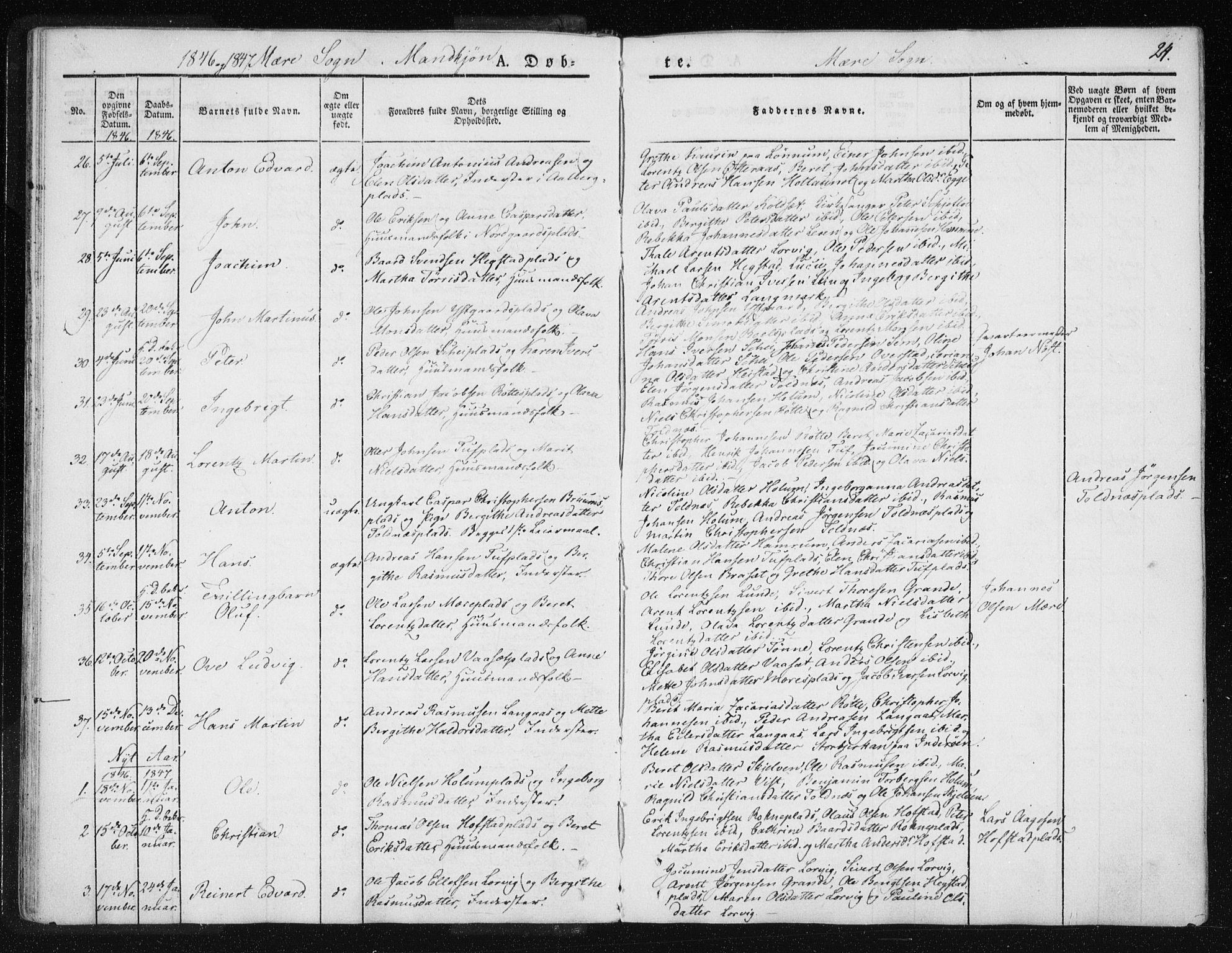 SAT, Ministerialprotokoller, klokkerbøker og fødselsregistre - Nord-Trøndelag, 735/L0339: Ministerialbok nr. 735A06 /1, 1836-1848, s. 24