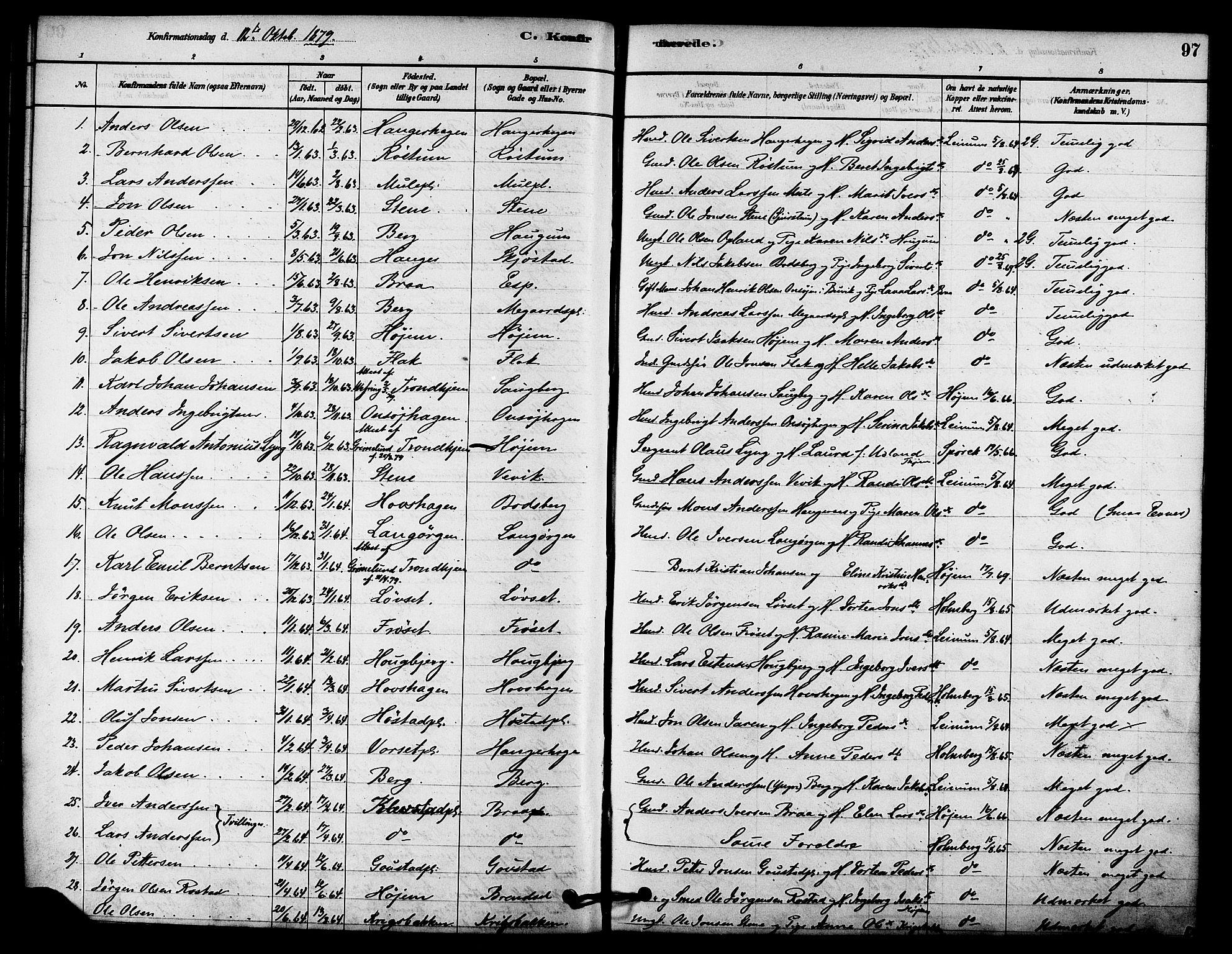SAT, Ministerialprotokoller, klokkerbøker og fødselsregistre - Sør-Trøndelag, 612/L0378: Ministerialbok nr. 612A10, 1878-1897, s. 97