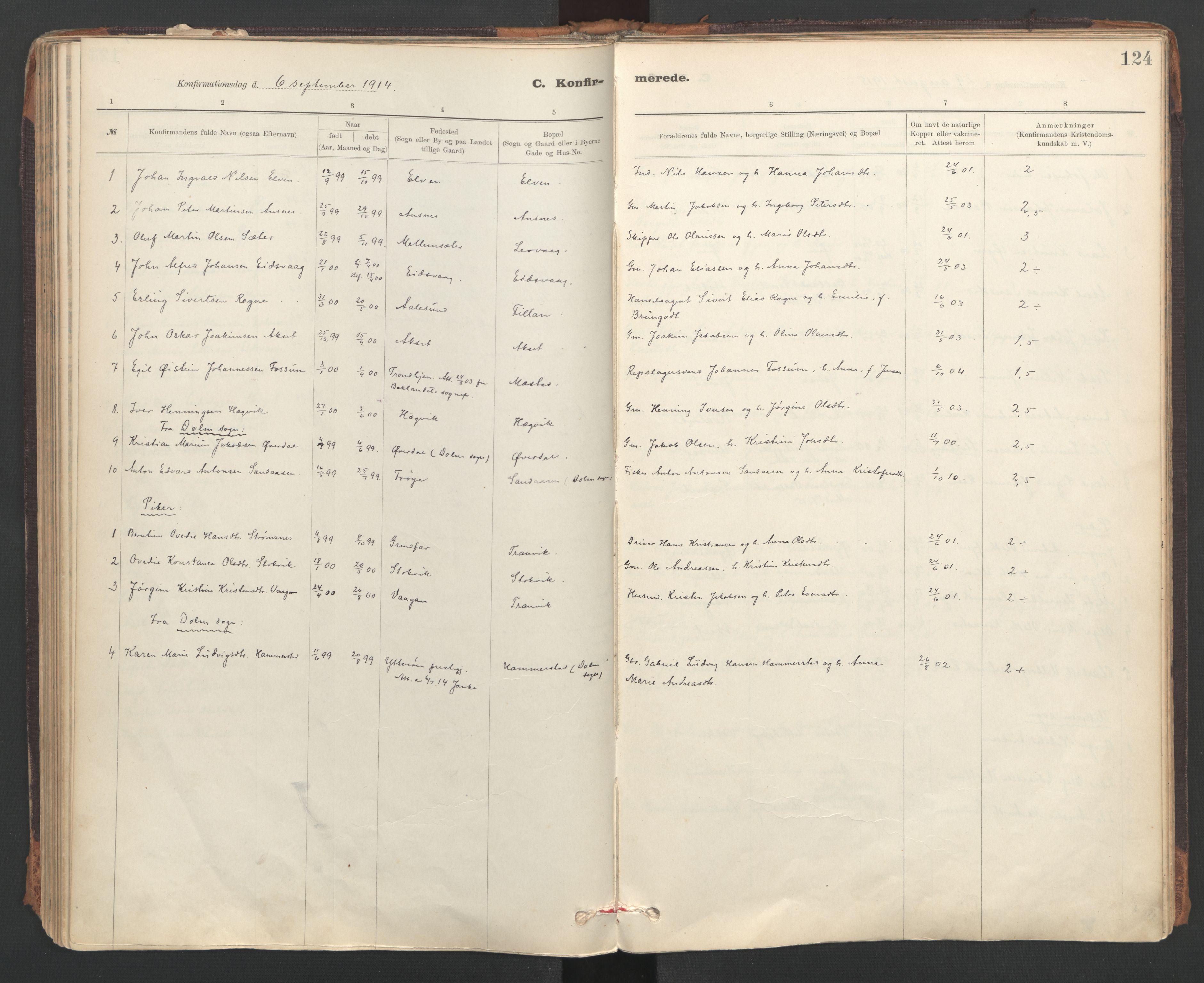 SAT, Ministerialprotokoller, klokkerbøker og fødselsregistre - Sør-Trøndelag, 637/L0559: Ministerialbok nr. 637A02, 1899-1923, s. 124