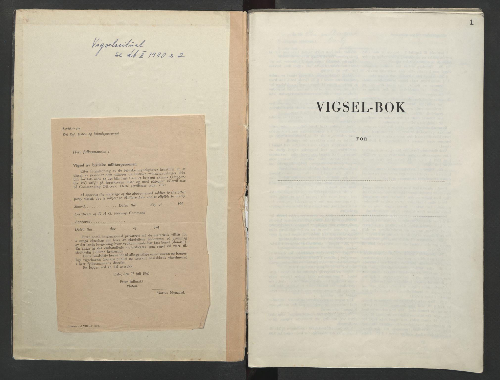 SAO, Onsøy sorenskriveri, L/La/L0006: Vigselsbok, 1946-1956, s. 1