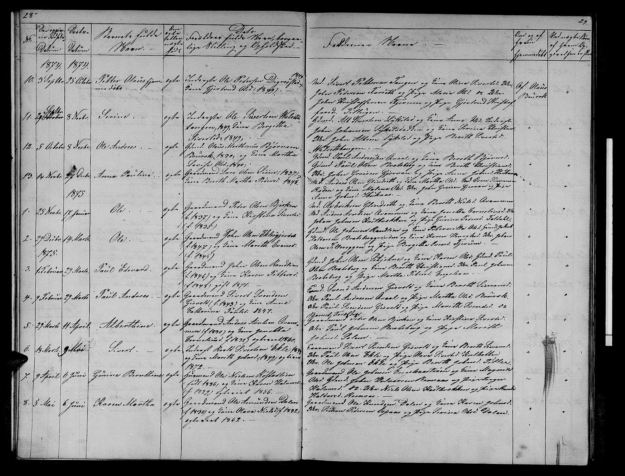 SAT, Ministerialprotokoller, klokkerbøker og fødselsregistre - Sør-Trøndelag, 608/L0340: Klokkerbok nr. 608C06, 1864-1889, s. 28-29