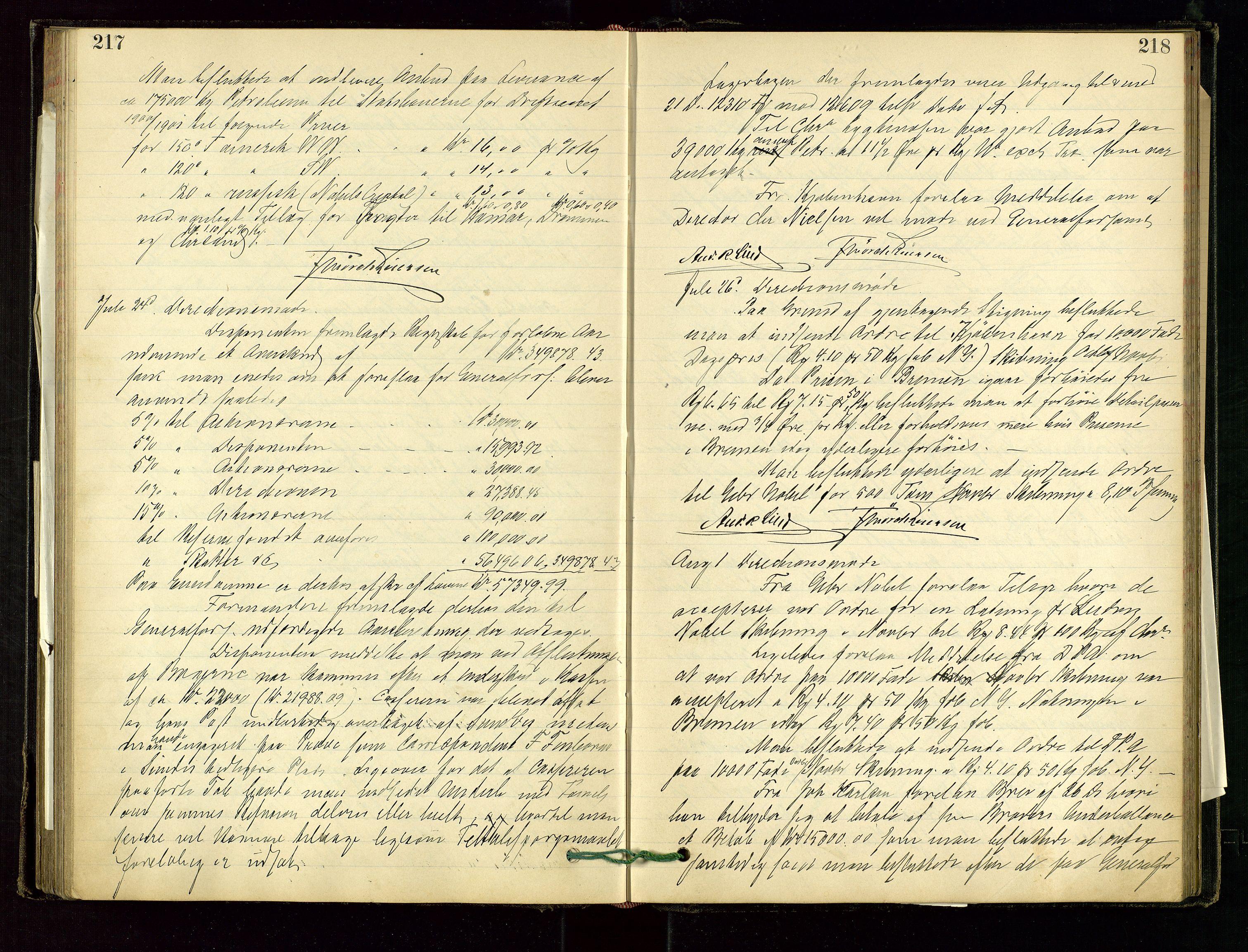 SAST, PA 1534 - Østlandske Petroleumscompagni A/S, A/Aa/L0001: Generalforsamlinger og direksjonsprotokoller., 1892-1905, s. 217-218