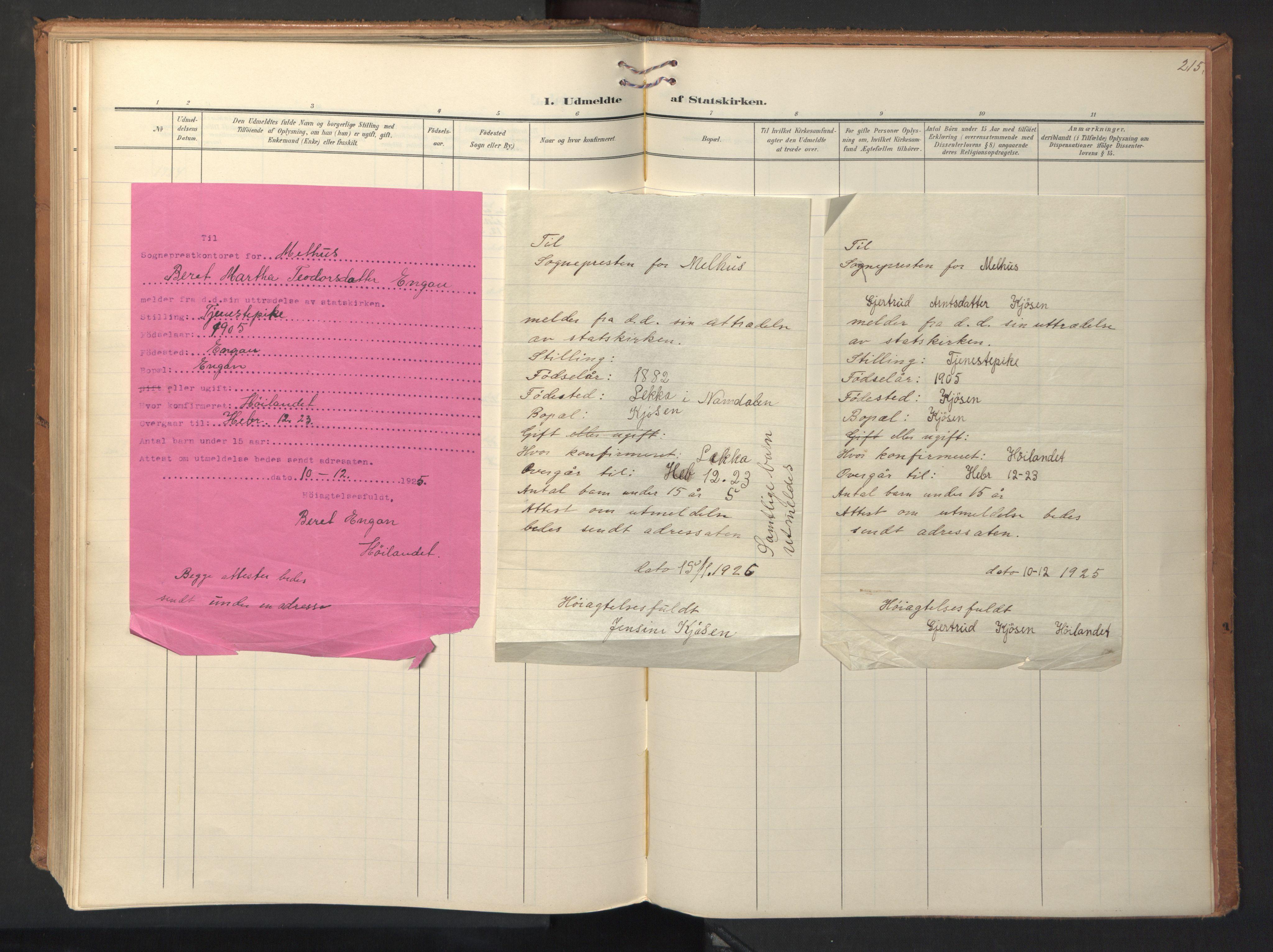 SAT, Ministerialprotokoller, klokkerbøker og fødselsregistre - Sør-Trøndelag, 694/L1128: Ministerialbok nr. 694A02, 1906-1931, s. 215