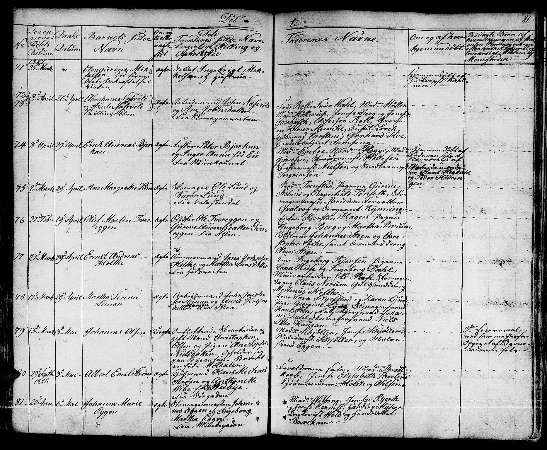 SAT, Ministerialprotokoller, klokkerbøker og fødselsregistre - Sør-Trøndelag, 601/L0045: Ministerialbok nr. 601A13, 1821-1831, s. 81