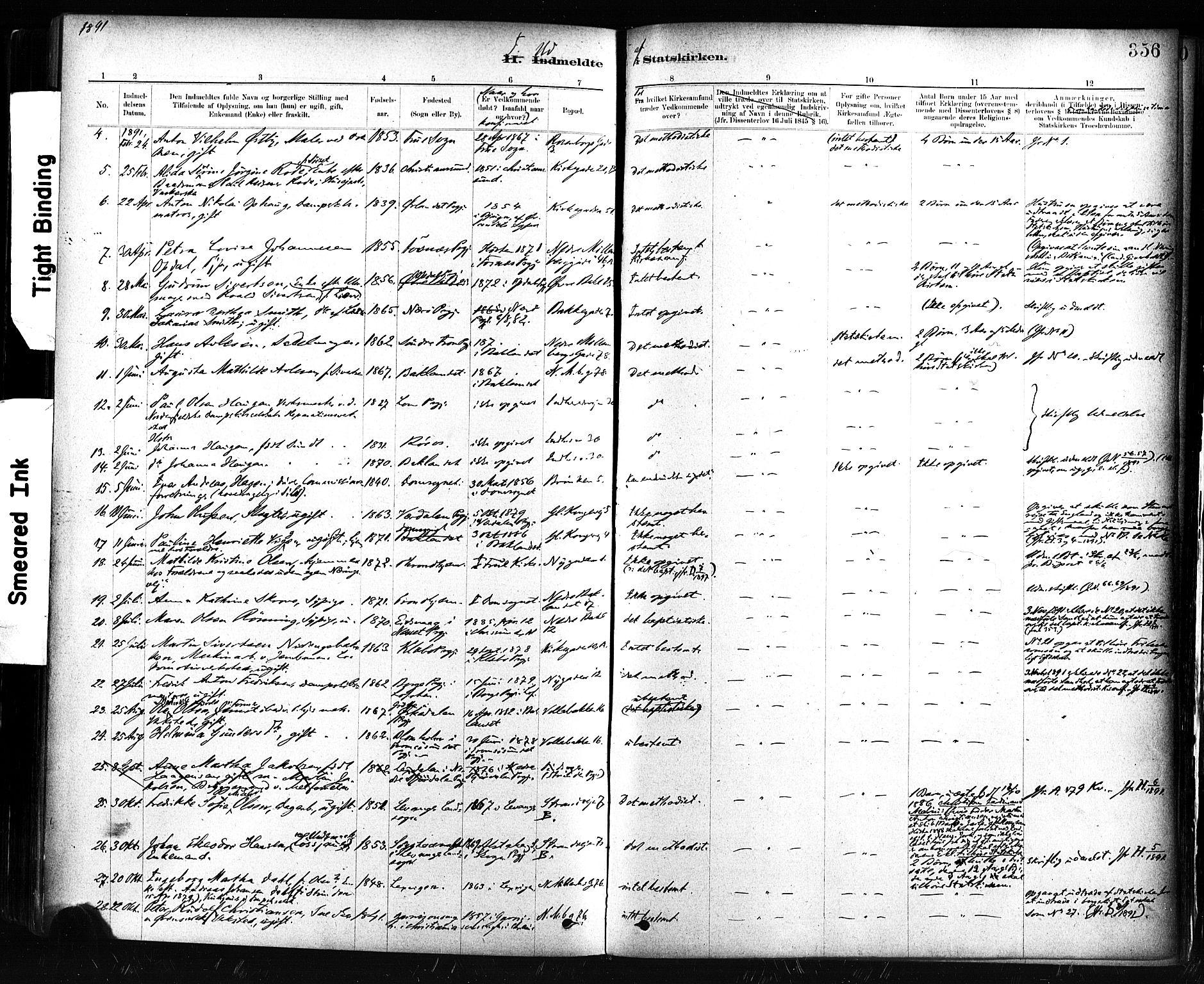 SAT, Ministerialprotokoller, klokkerbøker og fødselsregistre - Sør-Trøndelag, 604/L0189: Ministerialbok nr. 604A10, 1878-1892, s. 356
