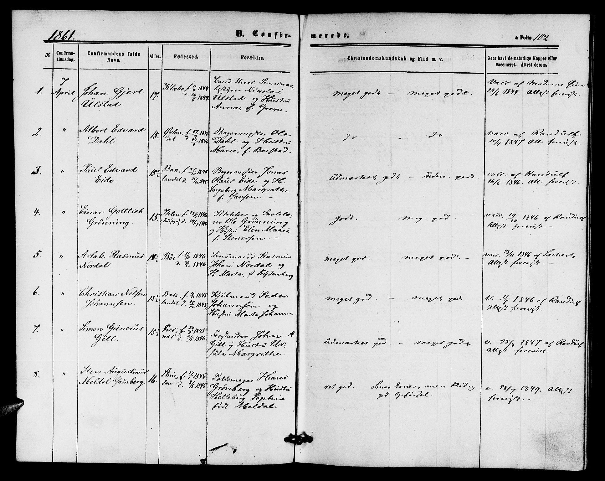 SAT, Ministerialprotokoller, klokkerbøker og fødselsregistre - Sør-Trøndelag, 604/L0185: Ministerialbok nr. 604A06, 1861-1865, s. 102