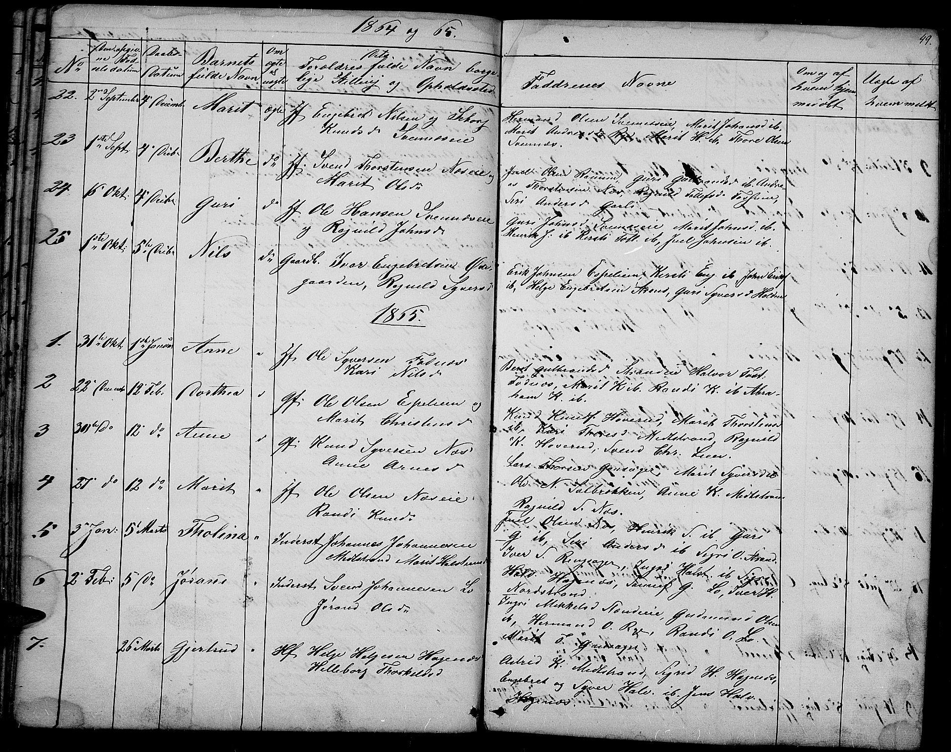 SAH, Nord-Aurdal prestekontor, Klokkerbok nr. 3, 1842-1882, s. 49