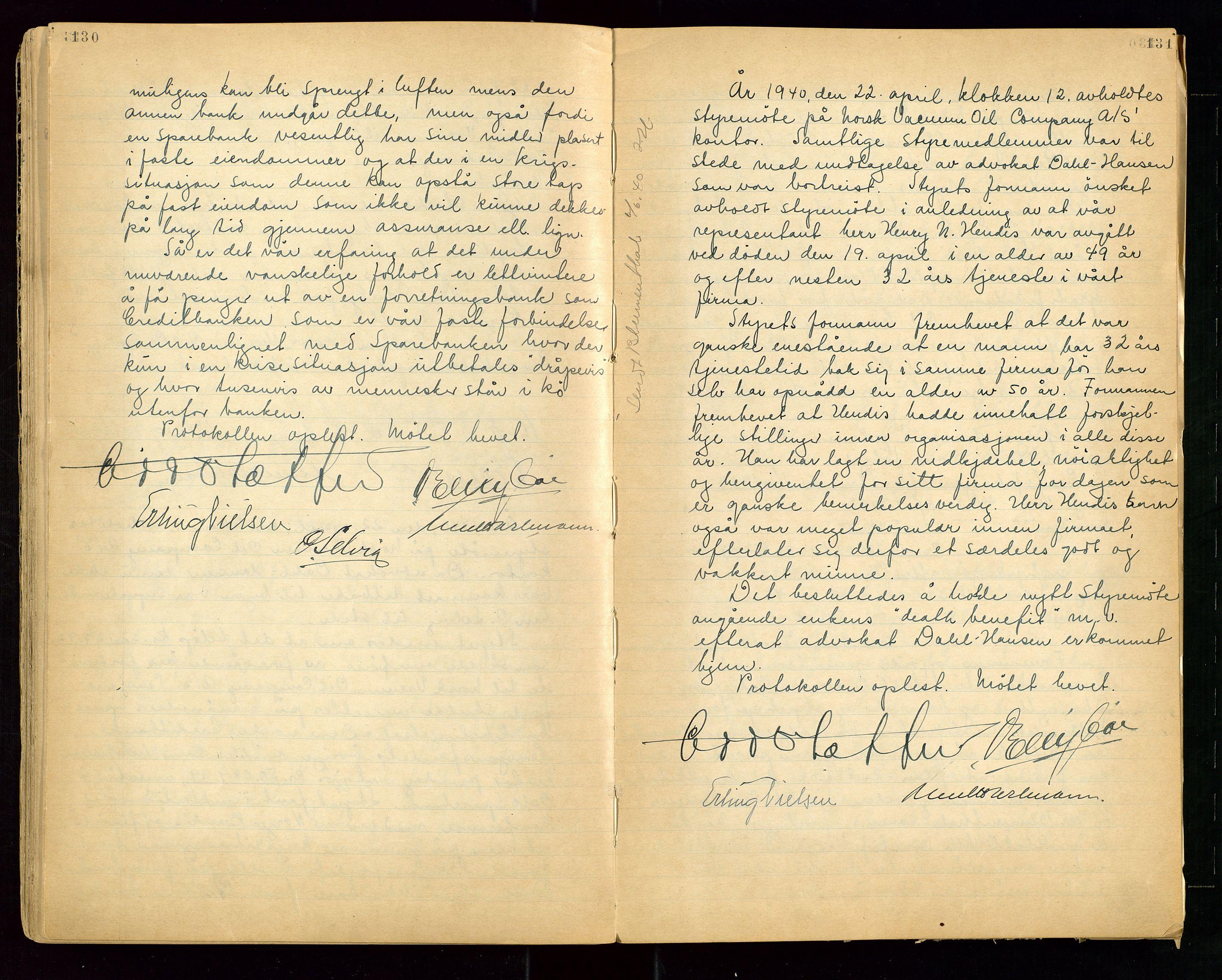 """SAST, PA 1513 - Norsk Vacuum Oil Company A/S, A/L0001: """"Generalforsamlings og styreprotokoll"""" fra 27/4-1918 til 6/4-1949, 1918-1949, s. 130-131"""