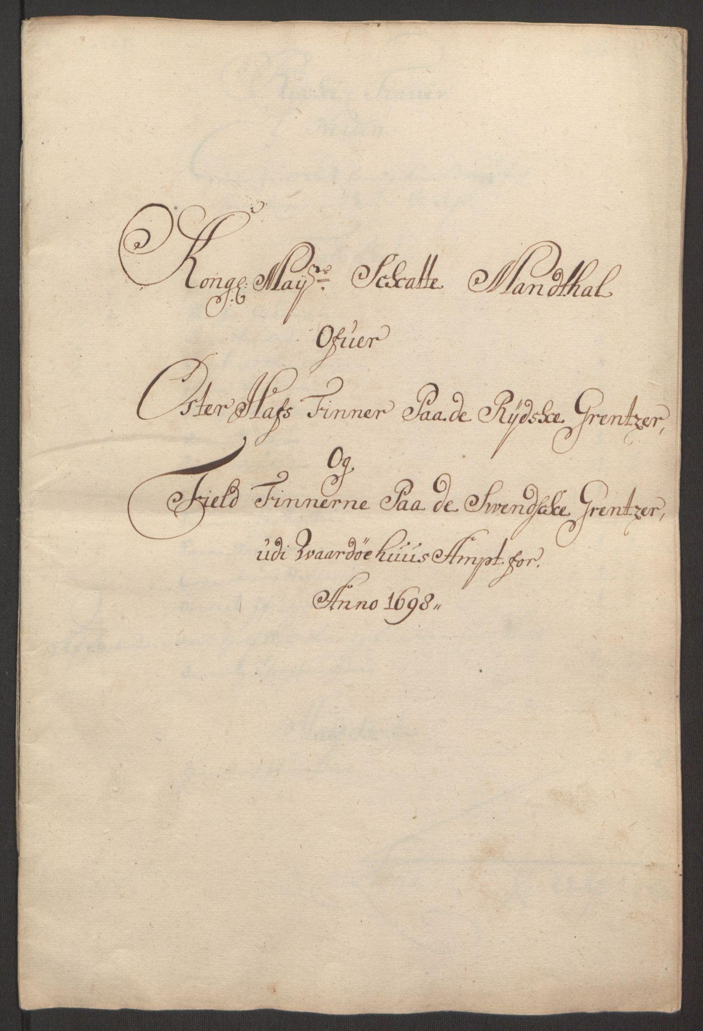 RA, Rentekammeret inntil 1814, Reviderte regnskaper, Fogderegnskap, R69/L4851: Fogderegnskap Finnmark/Vardøhus, 1691-1700, s. 349