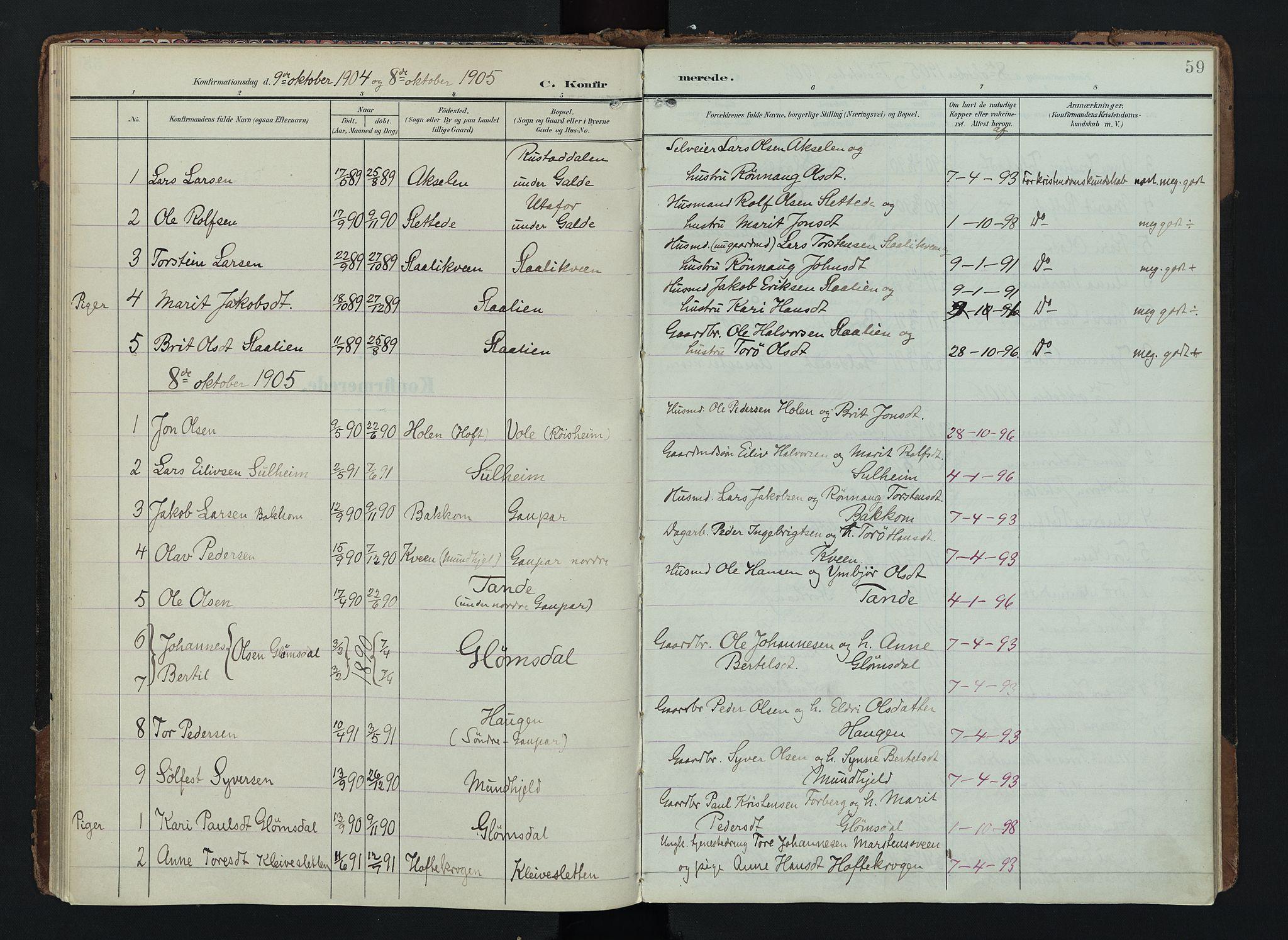 SAH, Lom prestekontor, K/L0012: Ministerialbok nr. 12, 1904-1928, s. 59