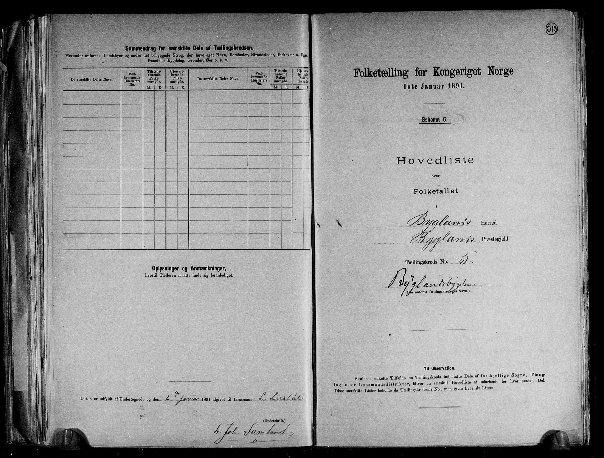RA, Folketelling 1891 for 0938 Bygland herred, 1891, s. 16