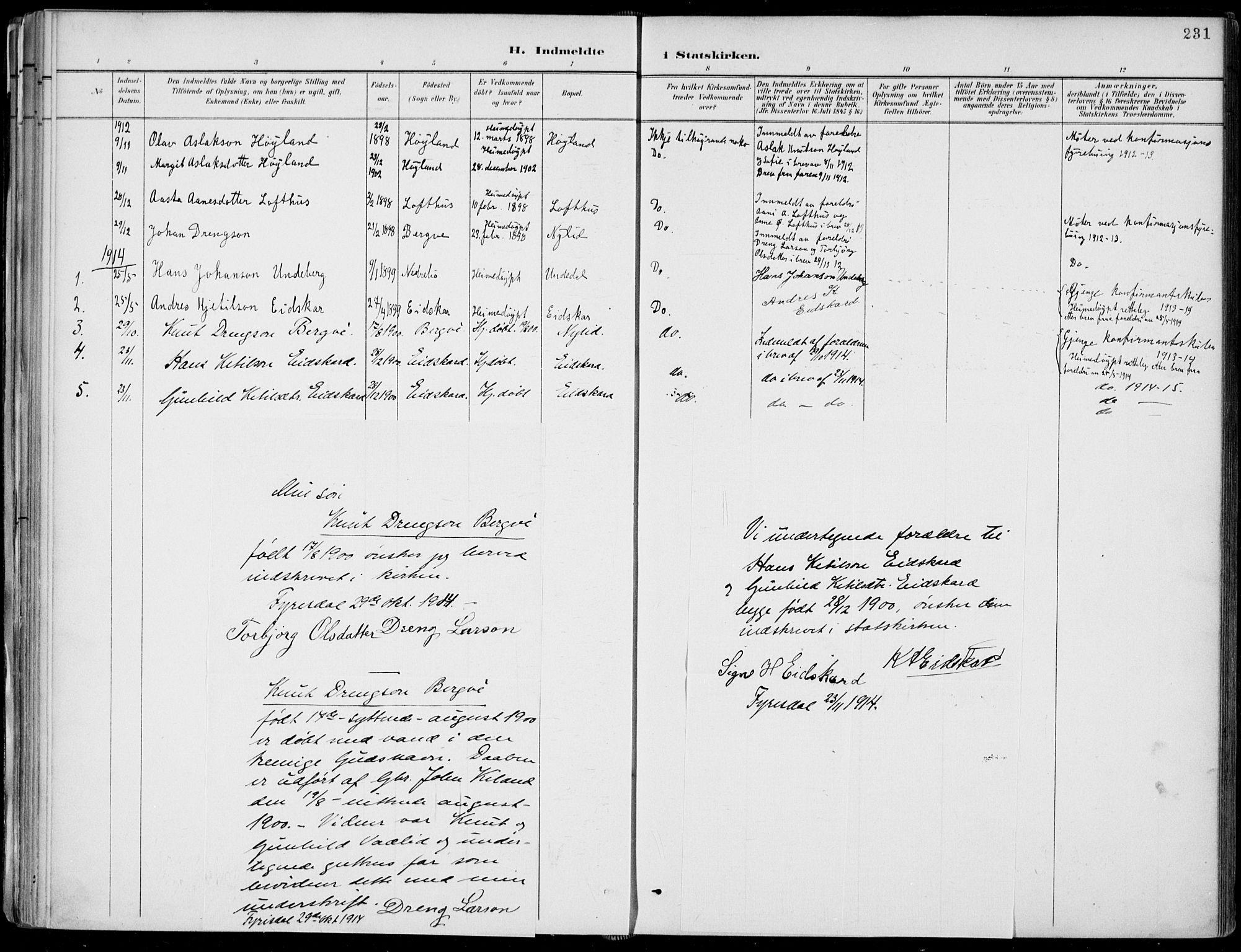 SAKO, Fyresdal kirkebøker, F/Fa/L0007: Ministerialbok nr. I 7, 1887-1914, s. 231