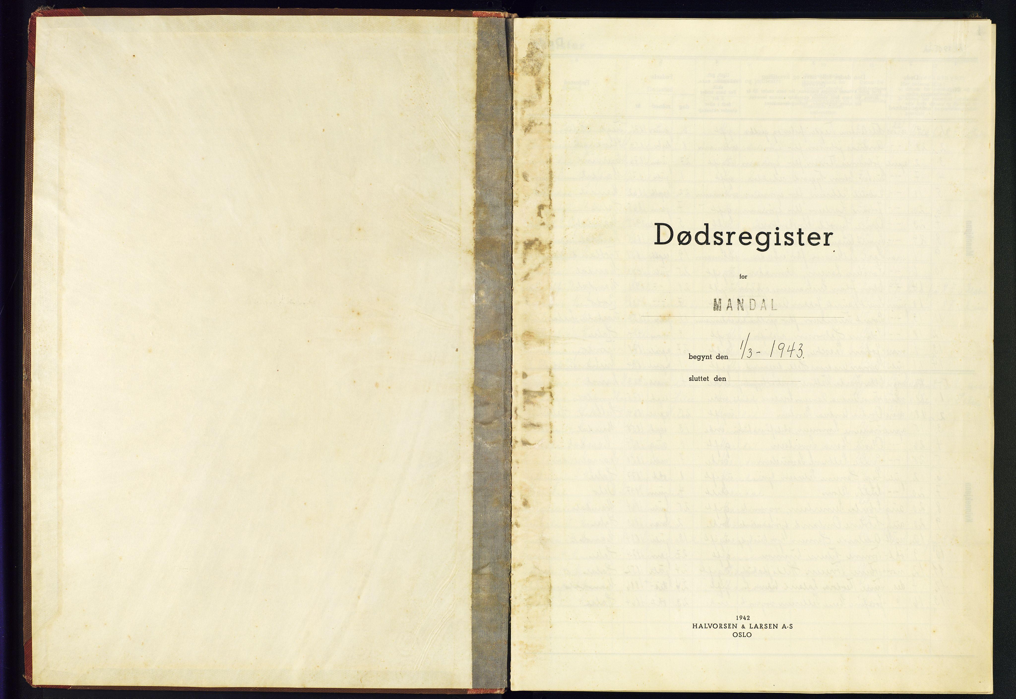 SAK, Mandal sokneprestkontor, J/Je/L0007: Dødsfallsregister Mandal, 1943-1945