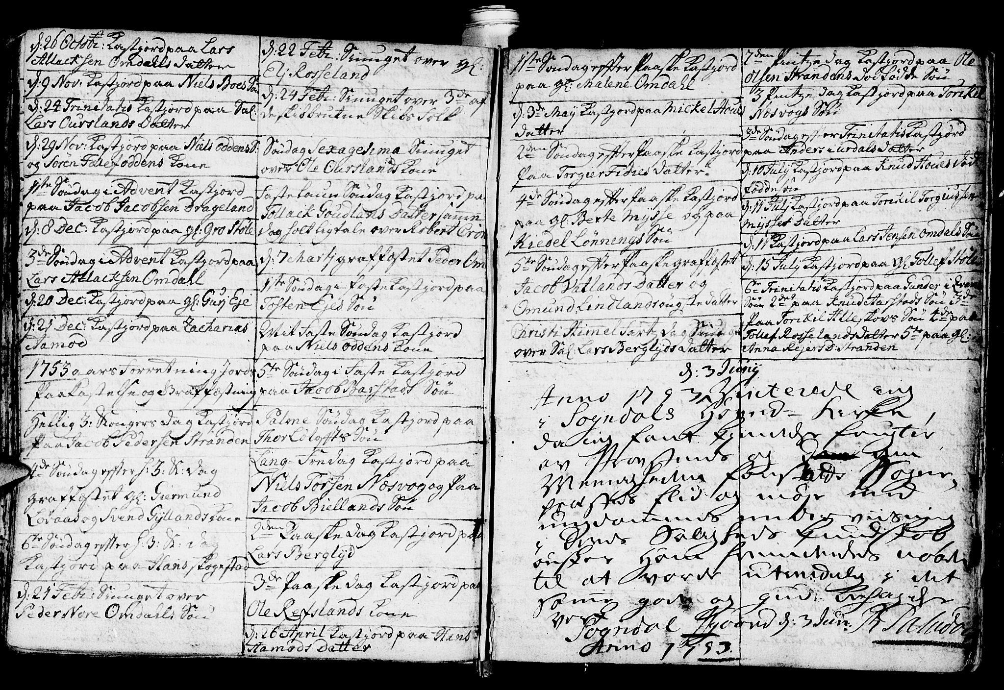 SAST, Sokndal sokneprestkontor, Ministerialbok nr. A 3, 1740-1806