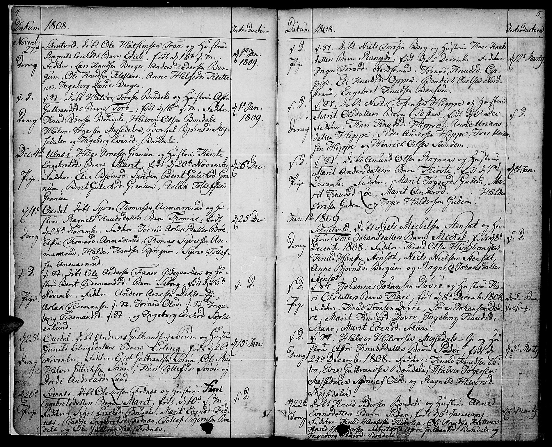 SAH, Nord-Aurdal prestekontor, Ministerialbok nr. 1, 1808-1815, s. 4-5