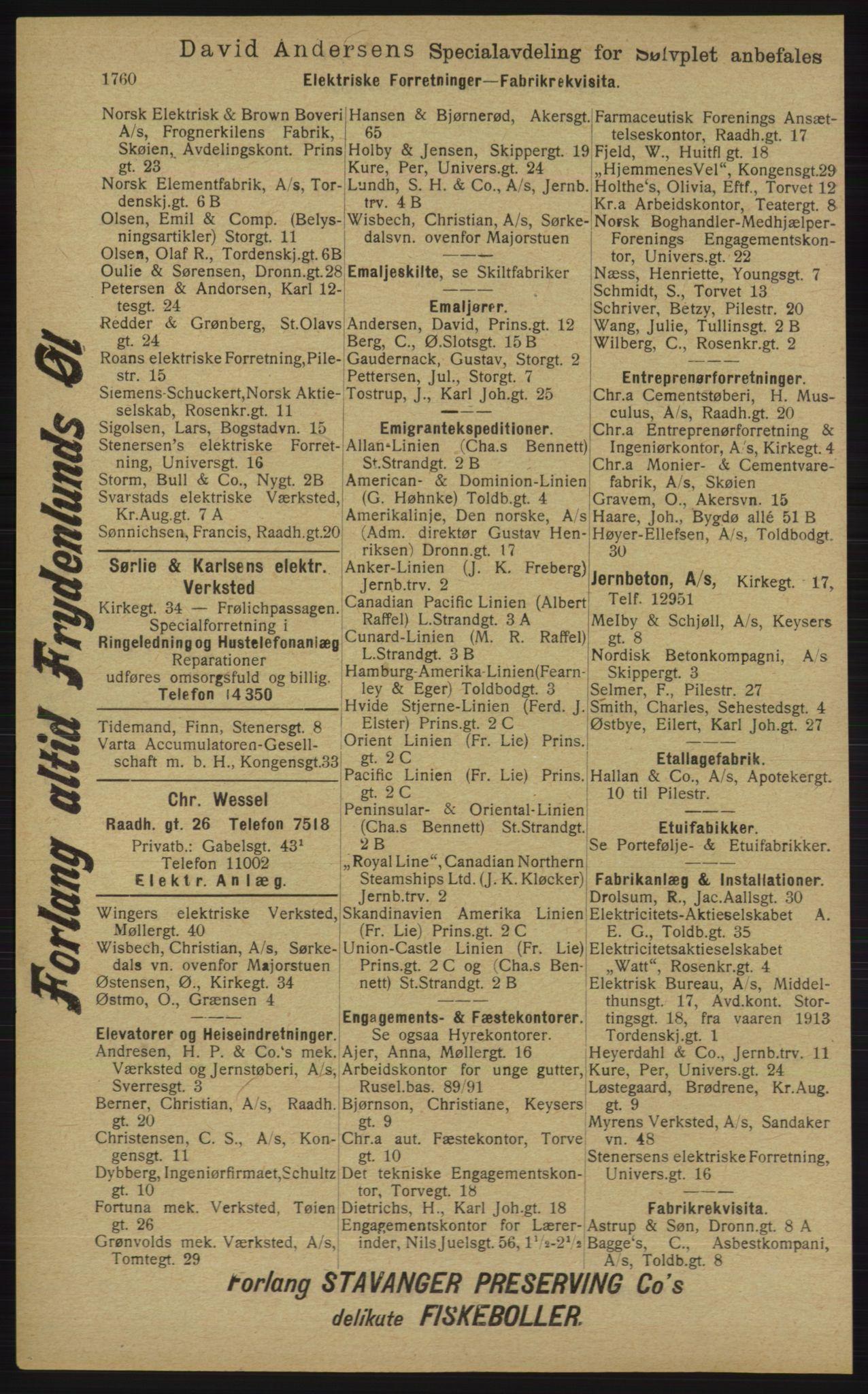 RA, Kristiania adressebok (publikasjon)*, 1913, s. 1760
