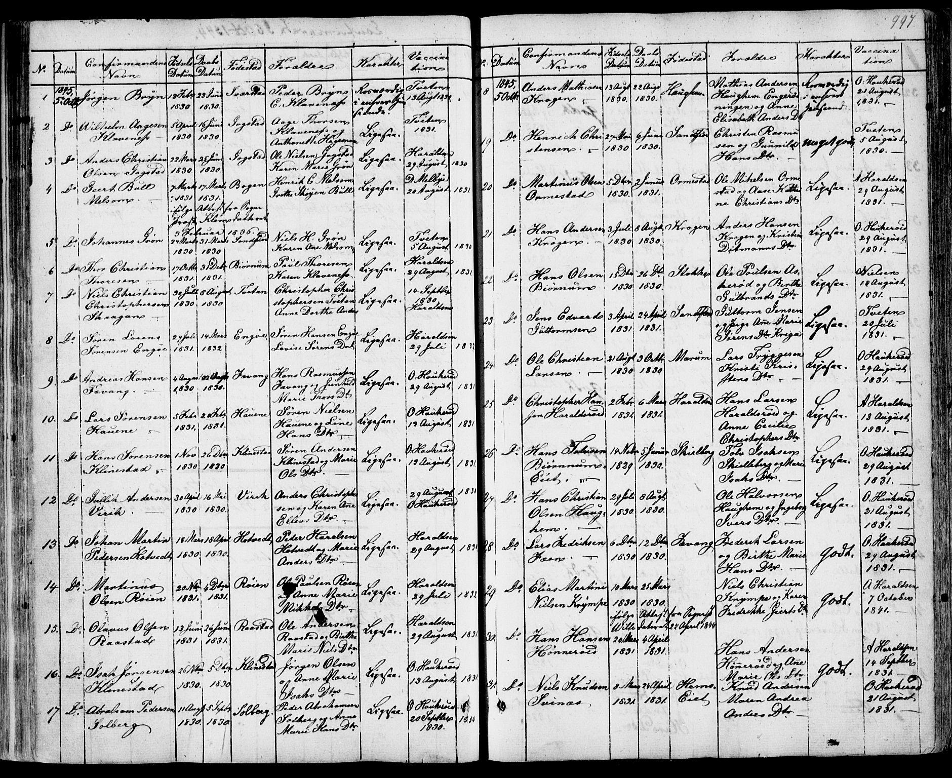 SAKO, Sandar kirkebøker, F/Fa/L0005: Ministerialbok nr. 5, 1832-1847, s. 996-997