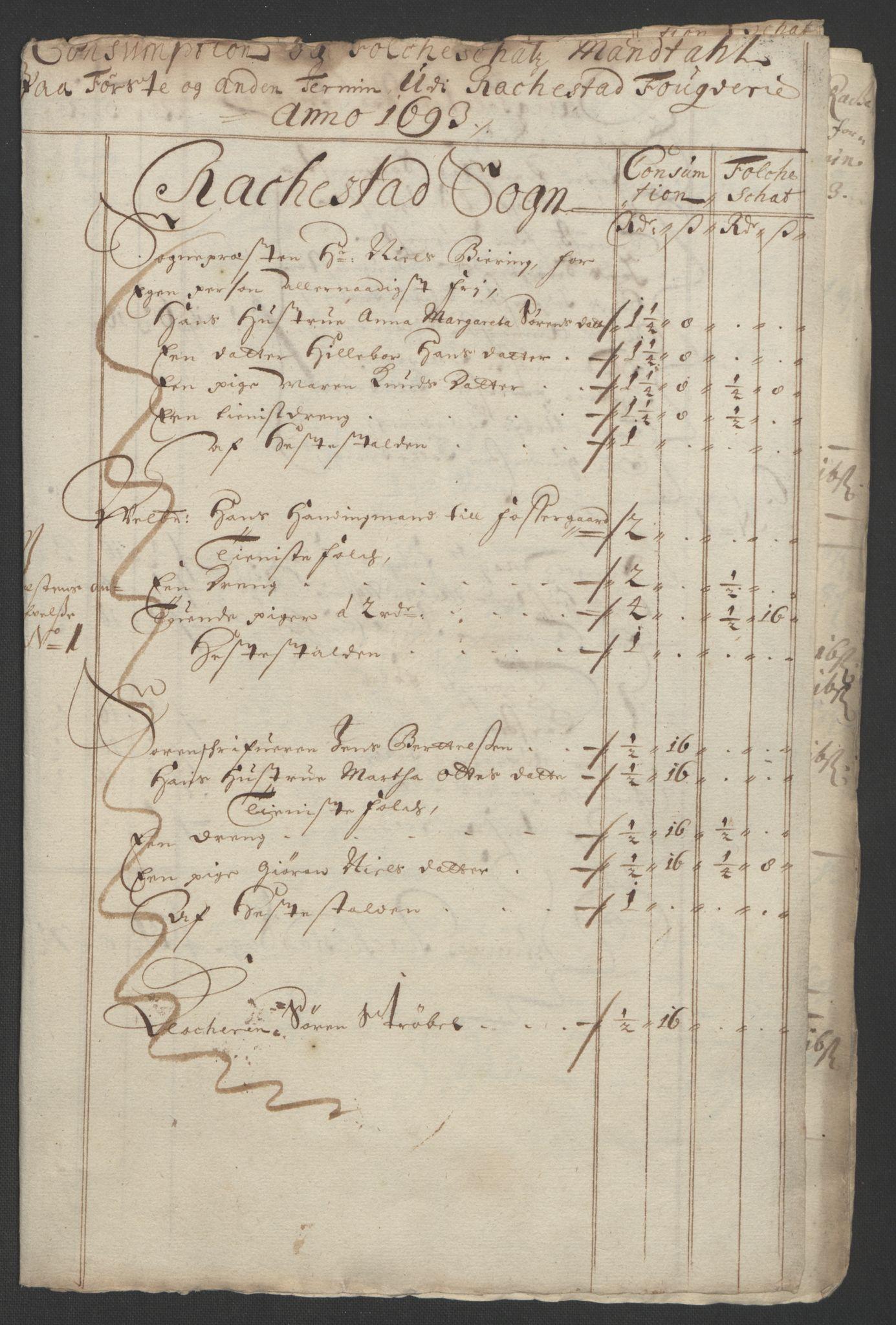 RA, Rentekammeret inntil 1814, Reviderte regnskaper, Fogderegnskap, R05/L0278: Fogderegnskap Rakkestad, 1691-1693, s. 478