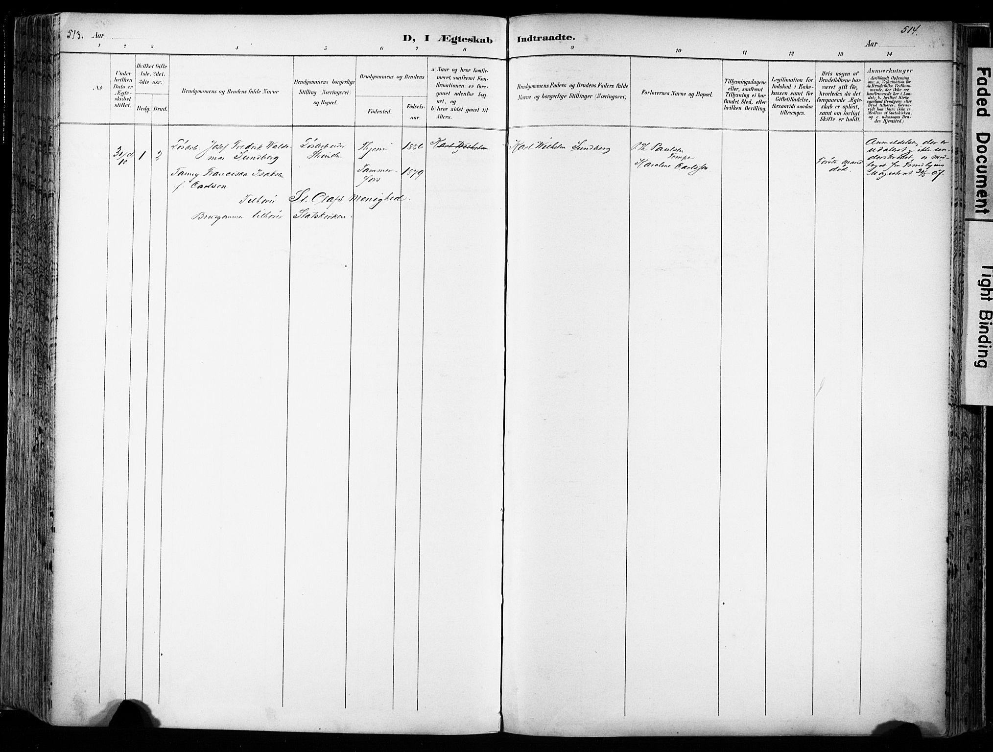 SAT, Ministerialprotokoller, klokkerbøker og fødselsregistre - Sør-Trøndelag, 606/L0301: Ministerialbok nr. 606A16, 1894-1907, s. 513-514