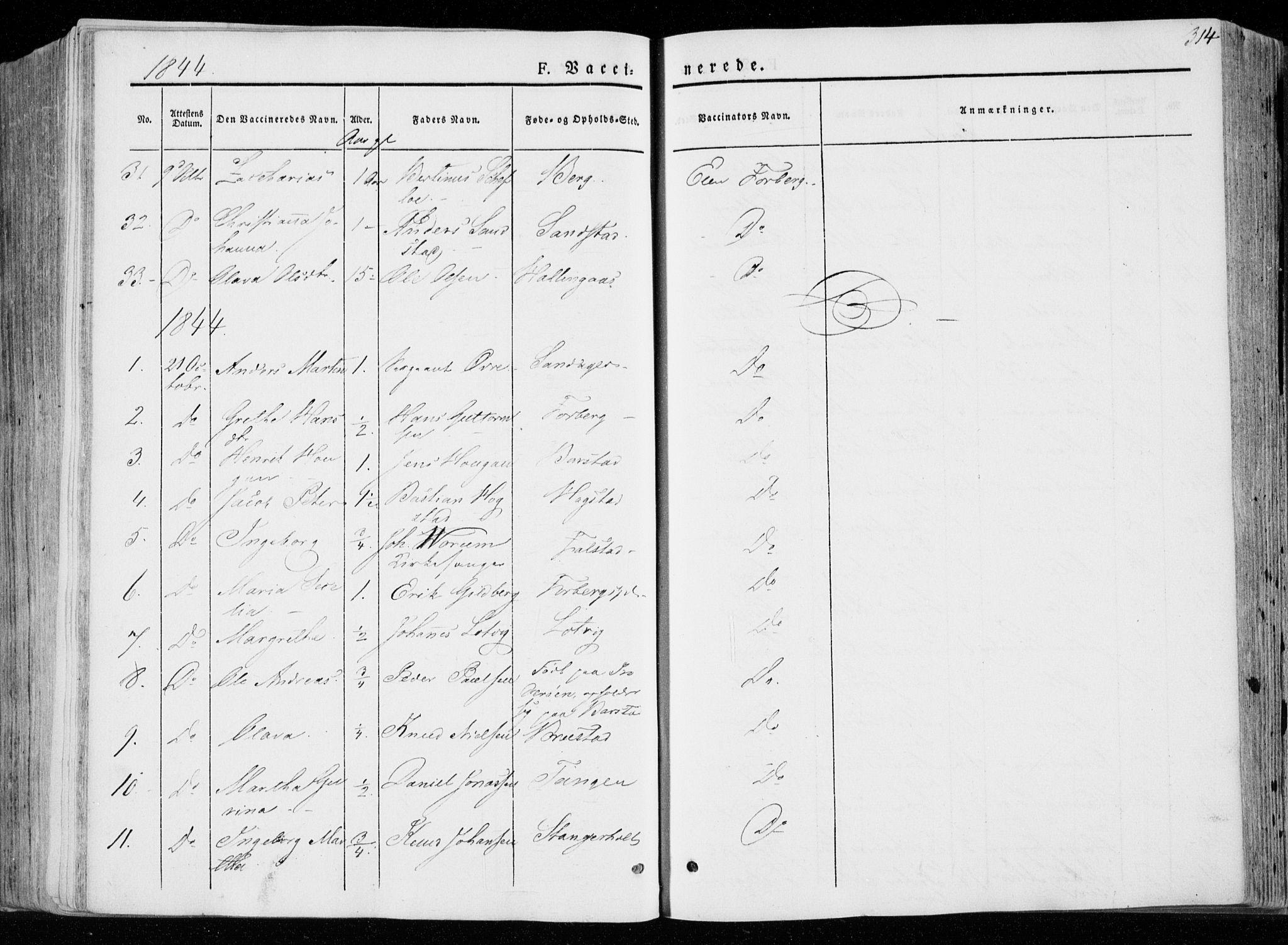 SAT, Ministerialprotokoller, klokkerbøker og fødselsregistre - Nord-Trøndelag, 722/L0218: Ministerialbok nr. 722A05, 1843-1868, s. 314