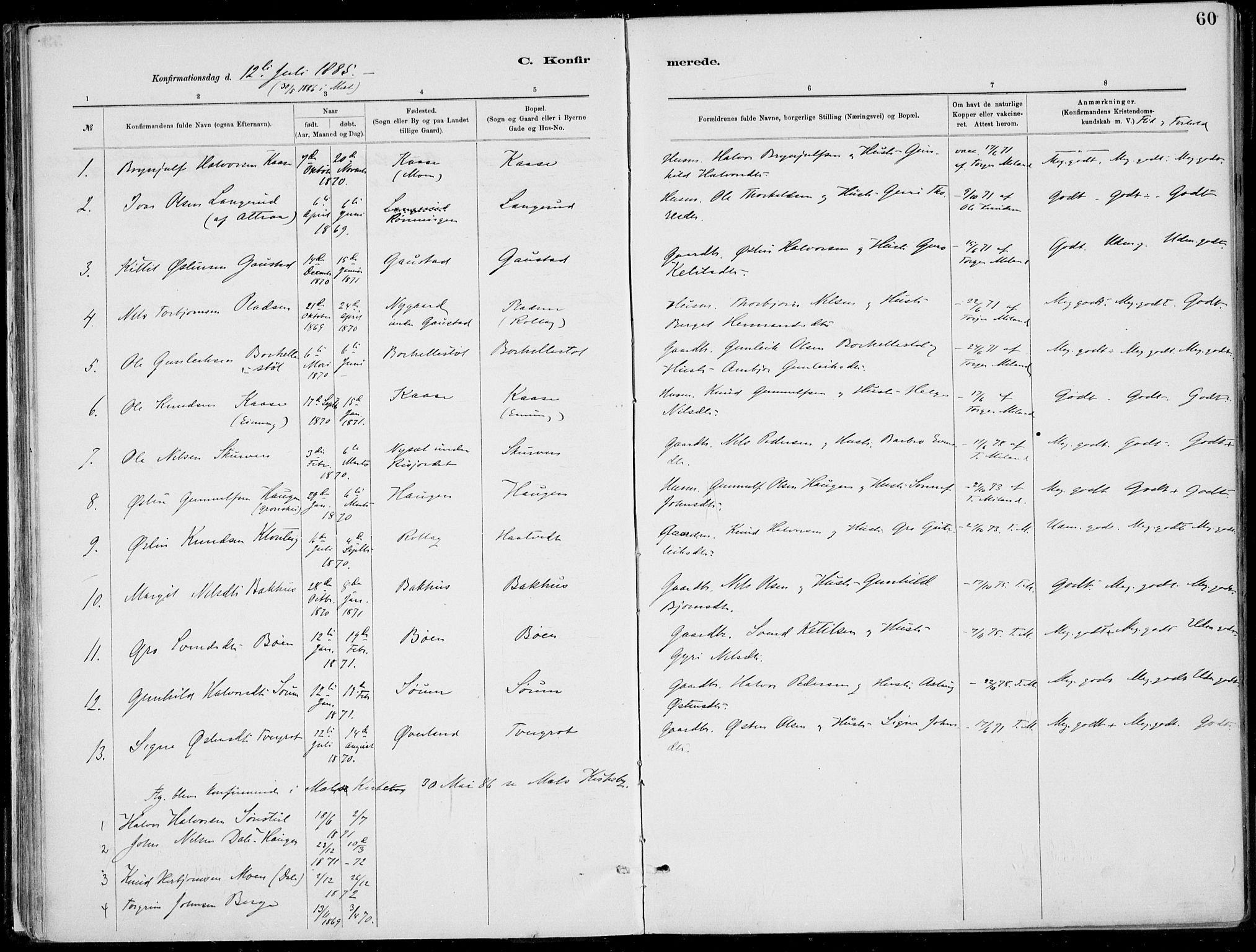 SAKO, Rjukan kirkebøker, F/Fa/L0001: Ministerialbok nr. 1, 1878-1912, s. 60