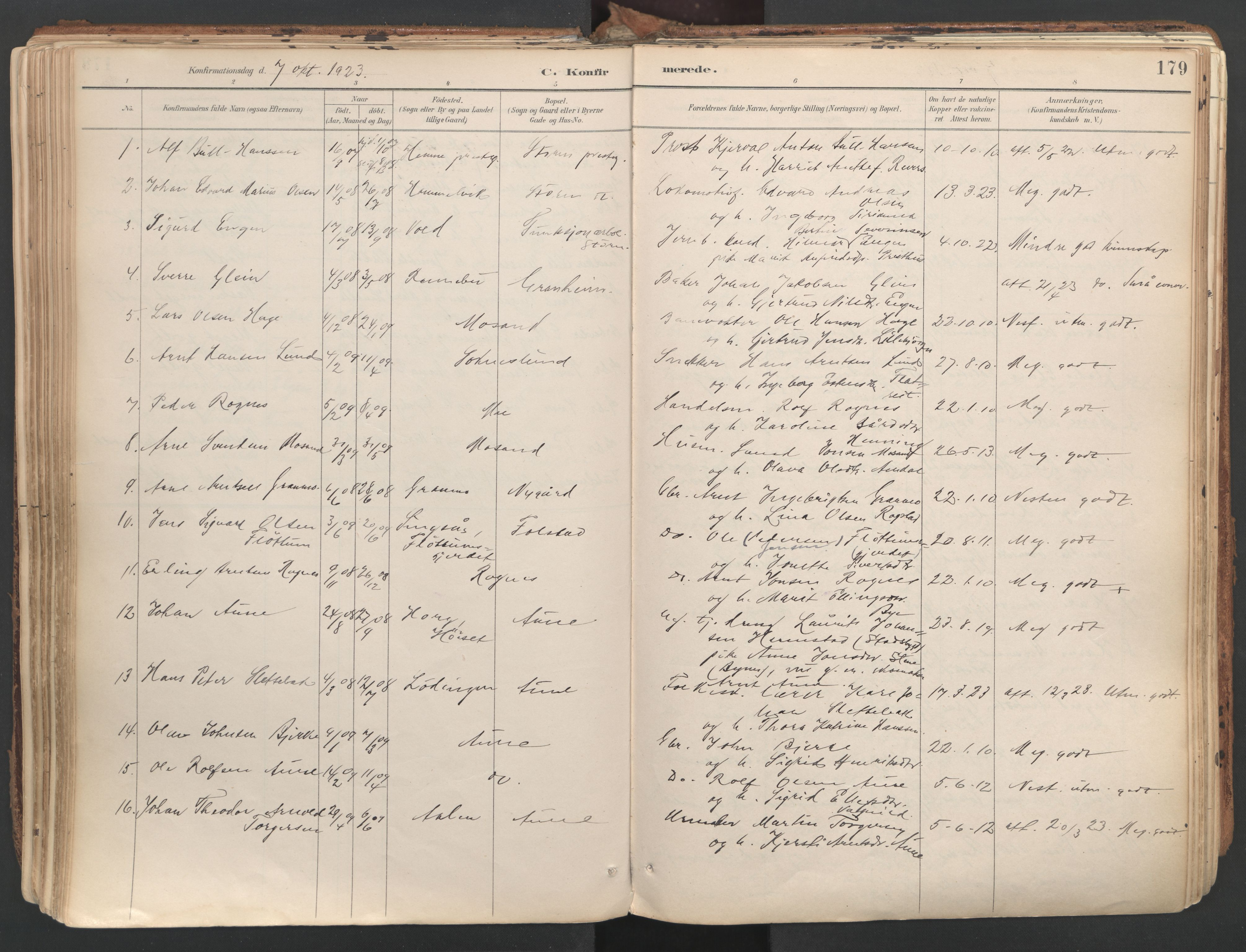 SAT, Ministerialprotokoller, klokkerbøker og fødselsregistre - Sør-Trøndelag, 687/L1004: Ministerialbok nr. 687A10, 1891-1923, s. 179