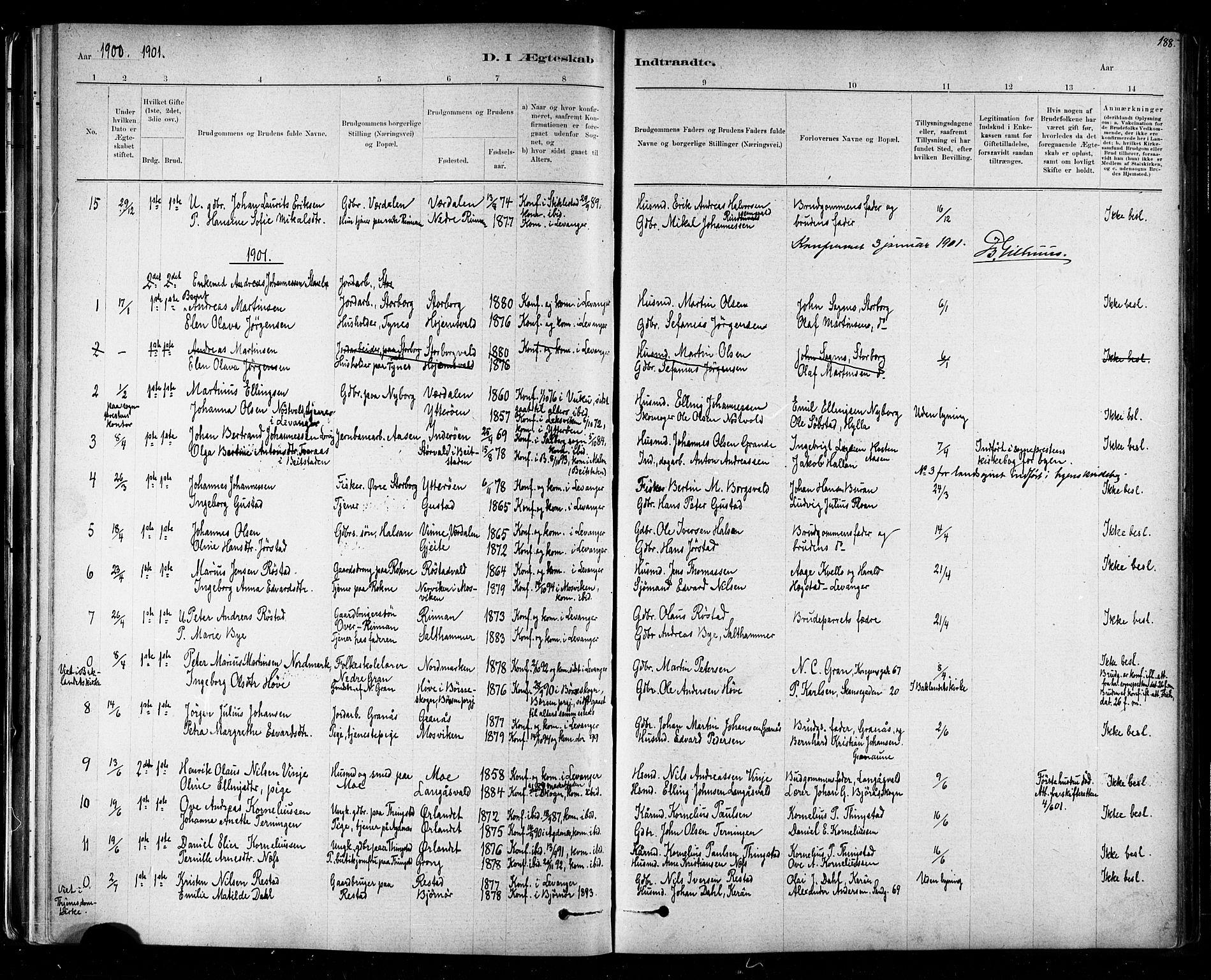 SAT, Ministerialprotokoller, klokkerbøker og fødselsregistre - Nord-Trøndelag, 721/L0208: Klokkerbok nr. 721C01, 1880-1917, s. 188
