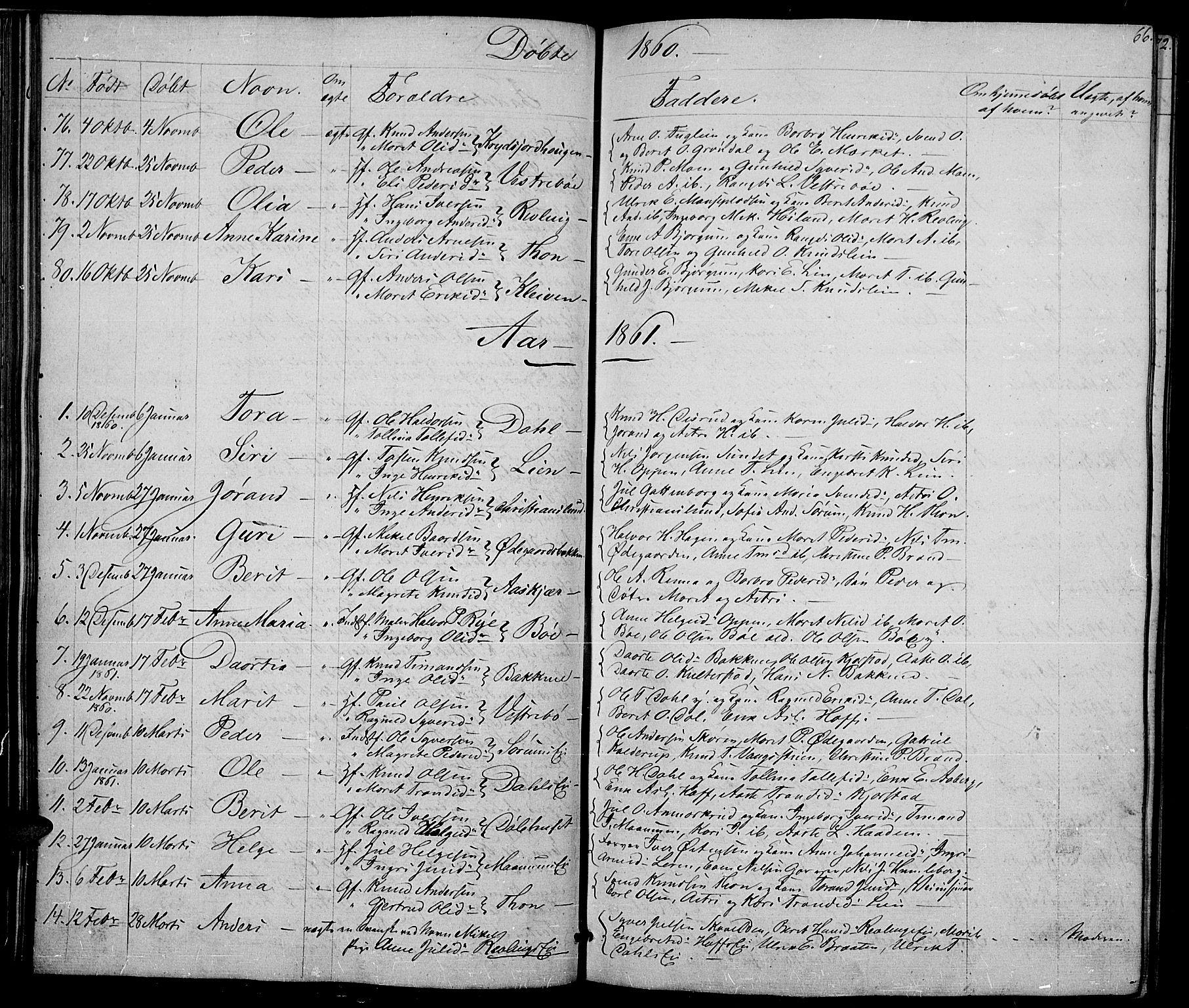 SAH, Nord-Aurdal prestekontor, Klokkerbok nr. 2, 1842-1877, s. 66