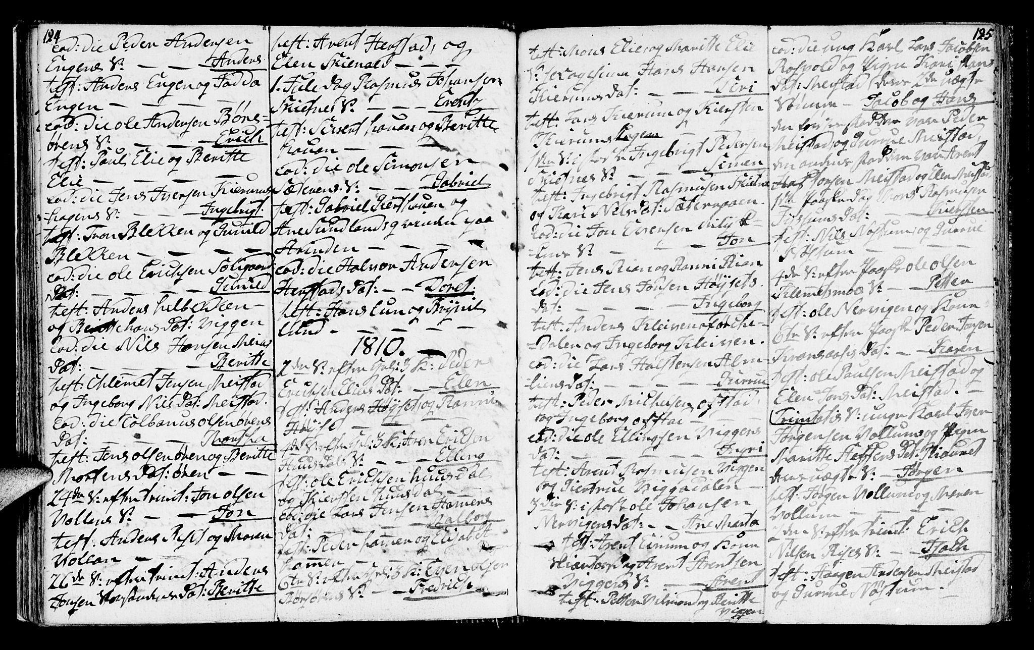 SAT, Ministerialprotokoller, klokkerbøker og fødselsregistre - Sør-Trøndelag, 665/L0769: Ministerialbok nr. 665A04, 1803-1816, s. 124-125