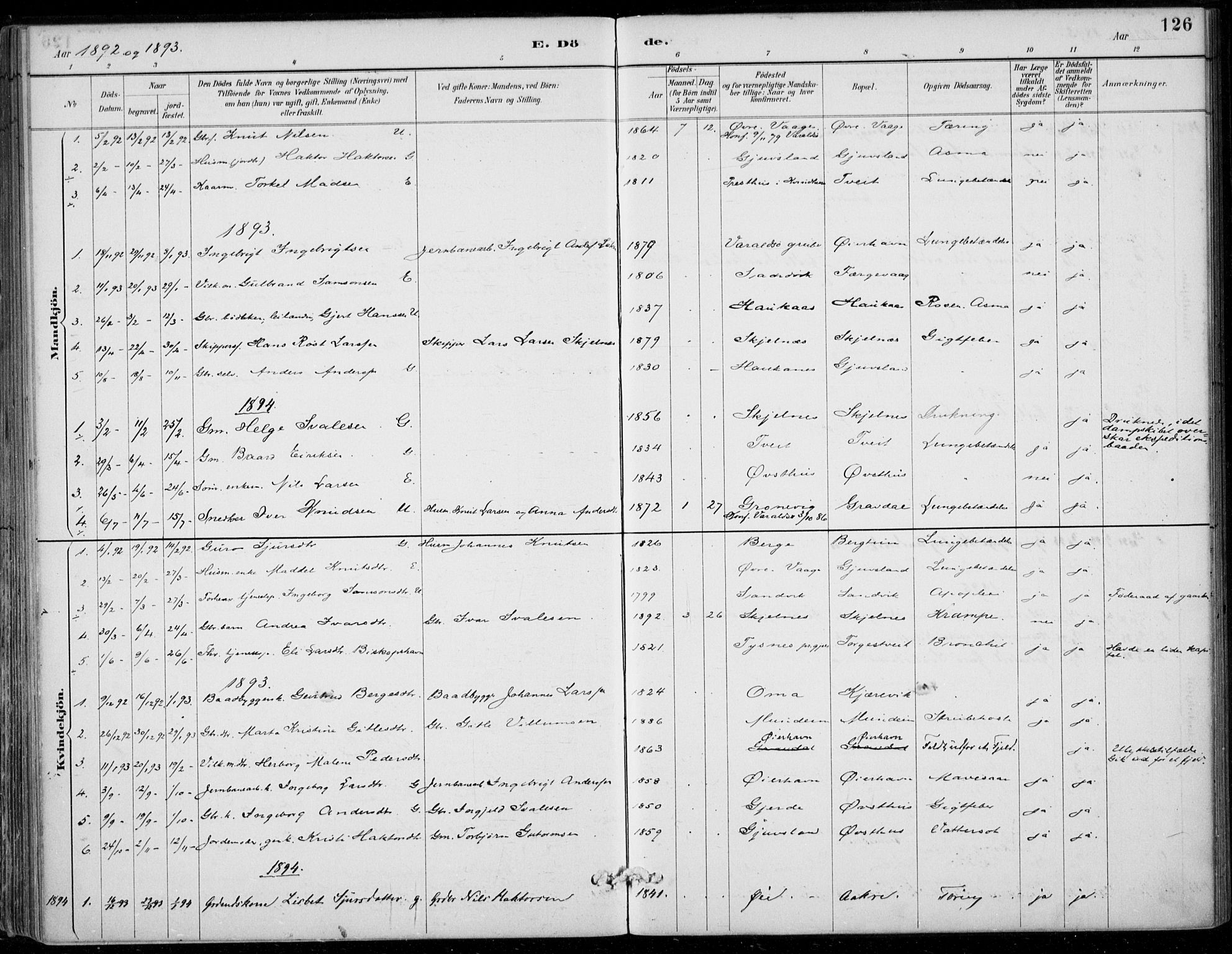 SAB, Strandebarm sokneprestembete, H/Haa: Ministerialbok nr. D  1, 1886-1912, s. 126