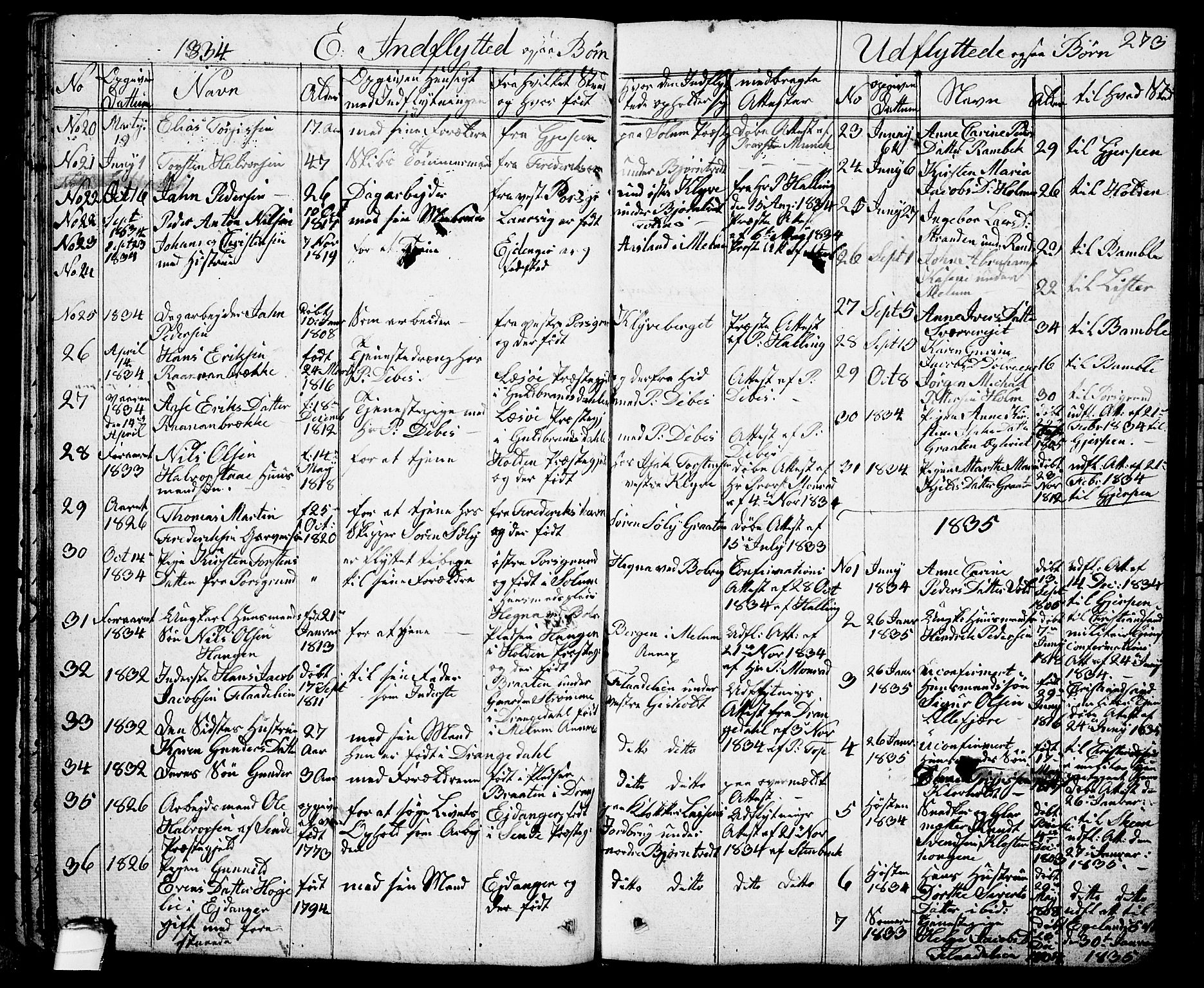 SAKO, Solum kirkebøker, G/Ga/L0002: Klokkerbok nr. I 2, 1834-1848, s. 273