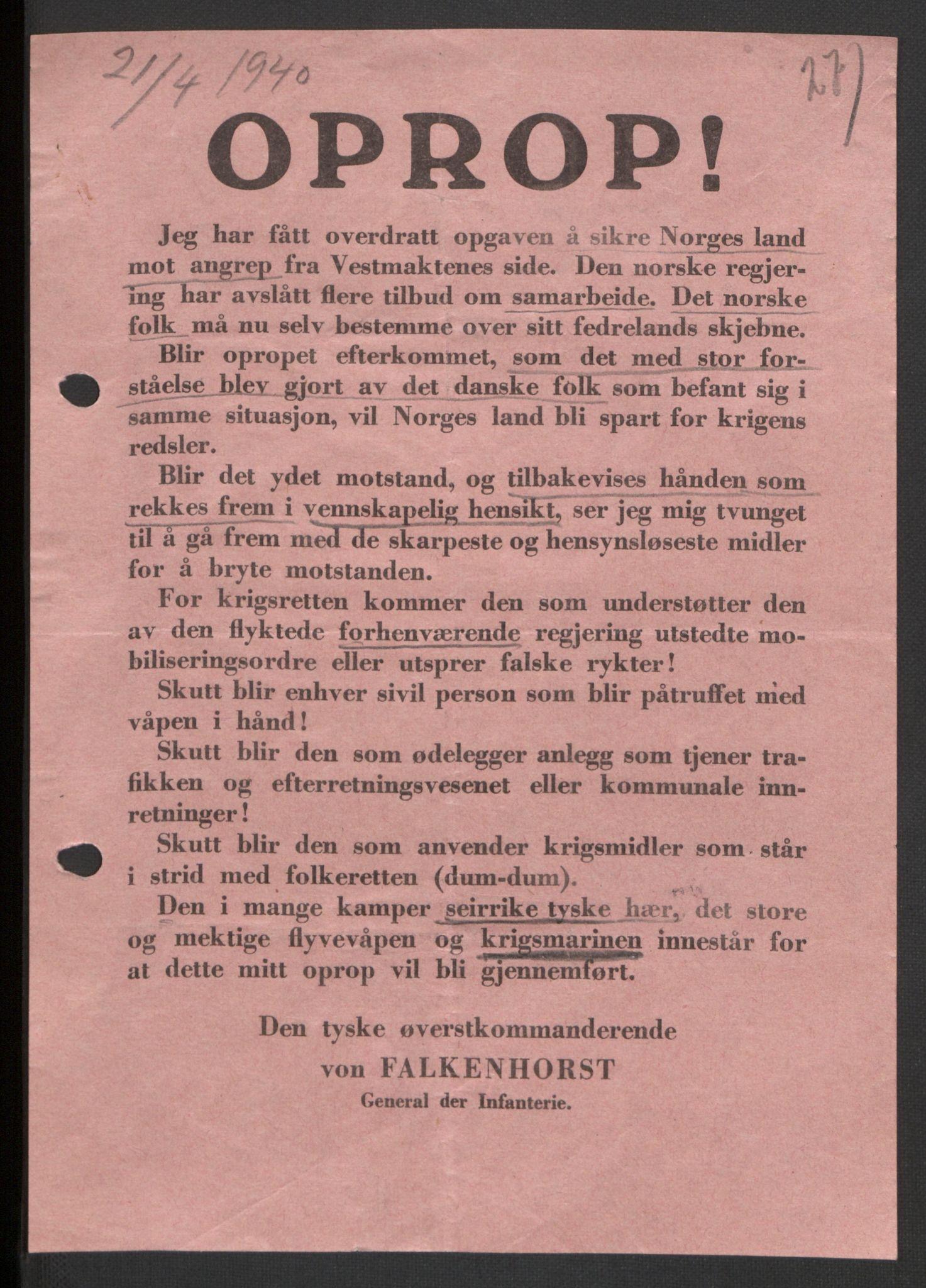 RA, Forsvaret, Forsvarets krigshistoriske avdeling, Y/Yb/L0104: II-C-11-430  -  4. Divisjon., 1940, s. 277
