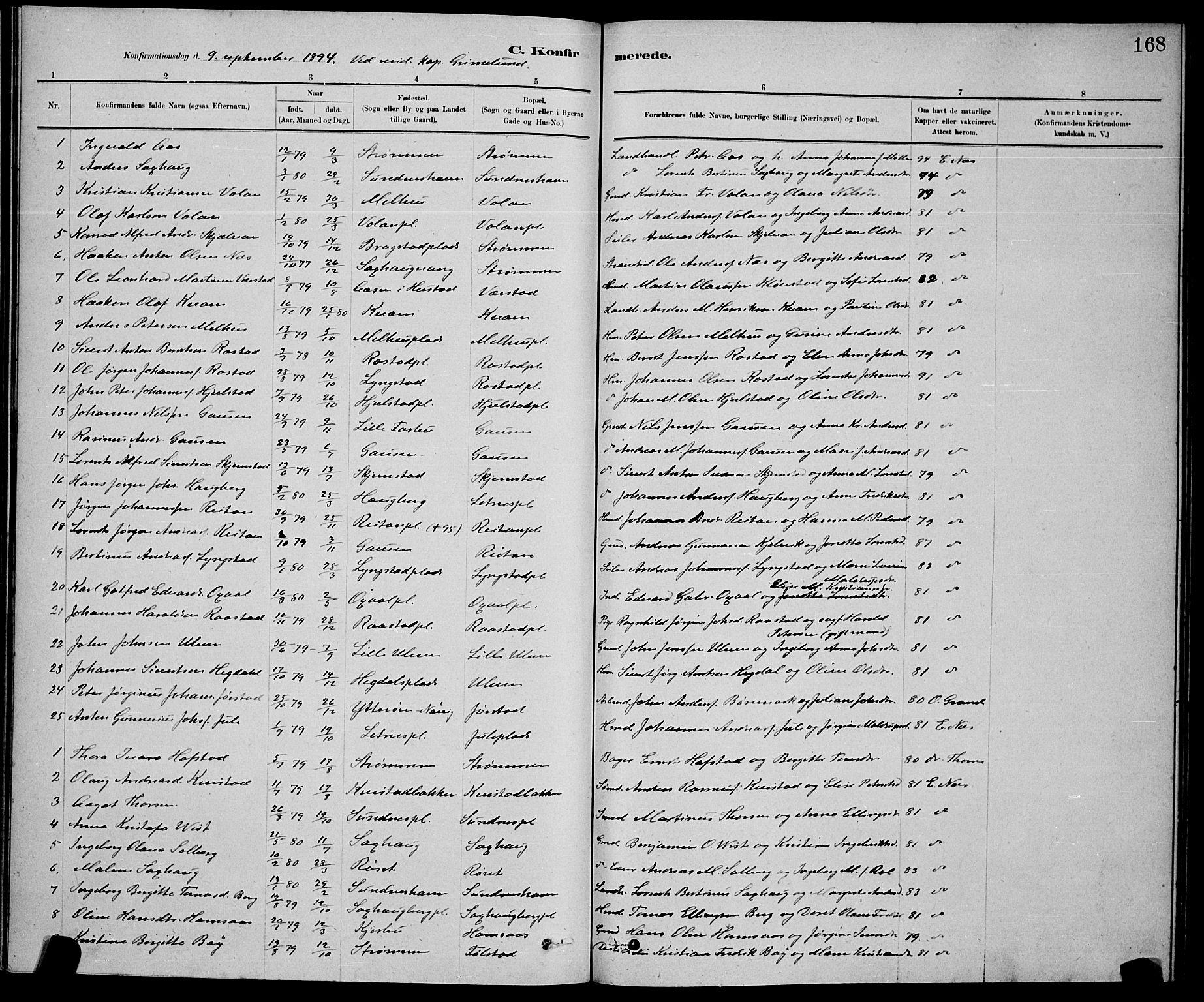 SAT, Ministerialprotokoller, klokkerbøker og fødselsregistre - Nord-Trøndelag, 730/L0301: Klokkerbok nr. 730C04, 1880-1897, s. 168