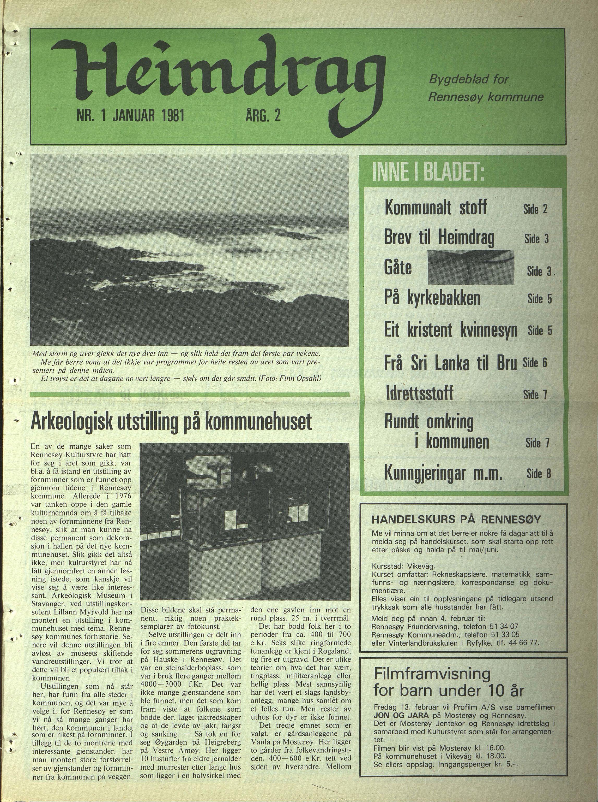 BYST, Rennesøy kommune. Heimdrag, lokalavis, X/Xa/L0003: Heimdrag 1981, 1981