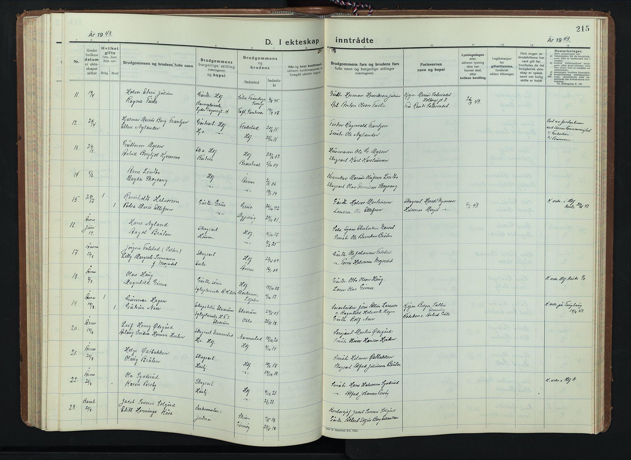 SAH, Hof prestekontor, Klokkerbok nr. 3, 1933-1947, s. 215