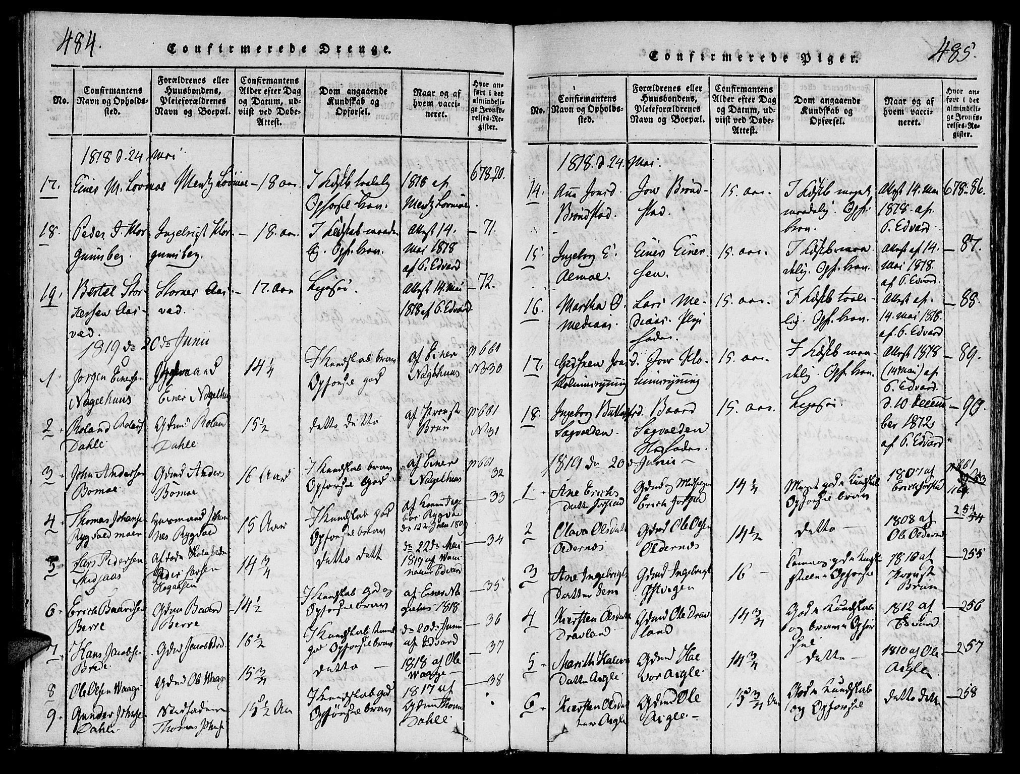 SAT, Ministerialprotokoller, klokkerbøker og fødselsregistre - Nord-Trøndelag, 749/L0479: Klokkerbok nr. 749C01, 1817-1829, s. 484-485