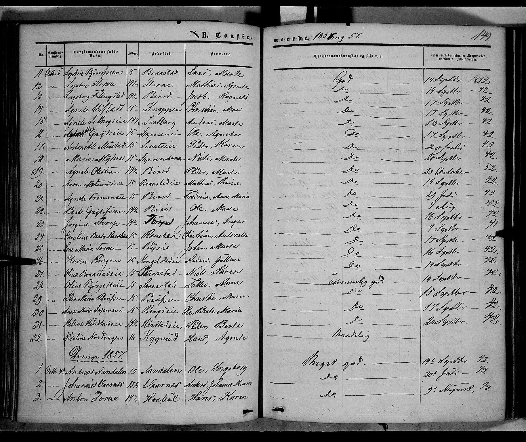 SAH, Vardal prestekontor, H/Ha/Haa/L0006: Ministerialbok nr. 6, 1854-1866, s. 149