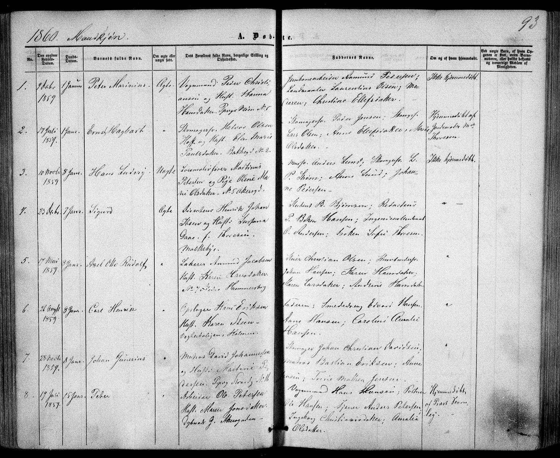 SAO, Trefoldighet prestekontor Kirkebøker, F/Fa/L0001: Ministerialbok nr. I 1, 1858-1863, s. 93