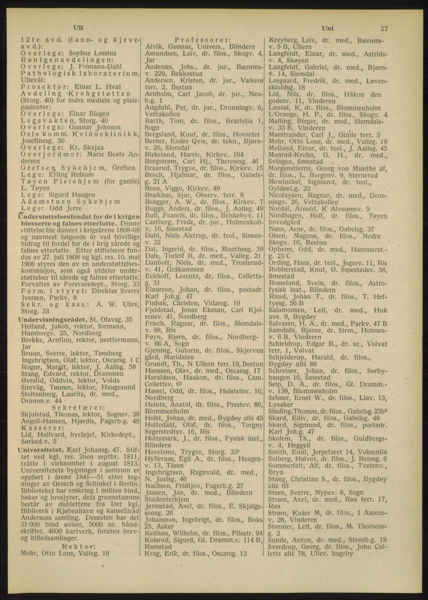 PUBL, Kristiania/Oslo adressebok, 1948, s. 27