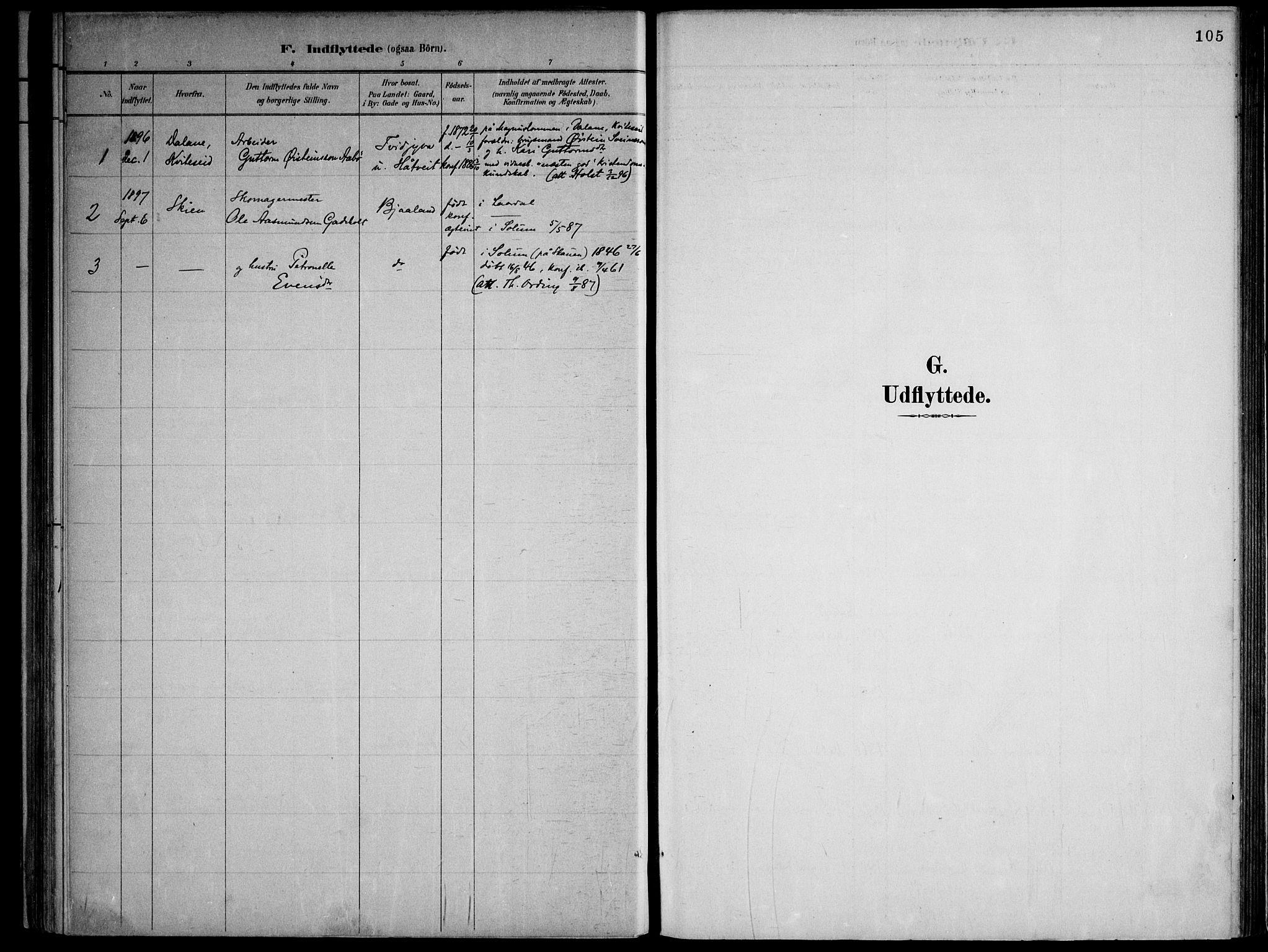 SAKO, Lårdal kirkebøker, F/Fa/L0007: Ministerialbok nr. I 7, 1887-1906, s. 105