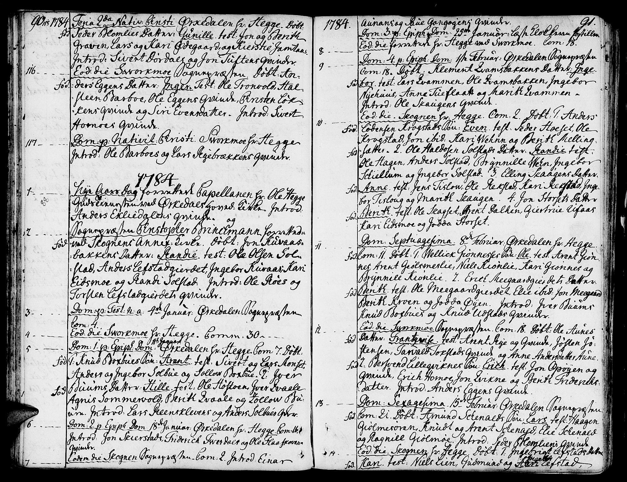 SAT, Ministerialprotokoller, klokkerbøker og fødselsregistre - Sør-Trøndelag, 668/L0802: Ministerialbok nr. 668A02, 1776-1799, s. 90-91